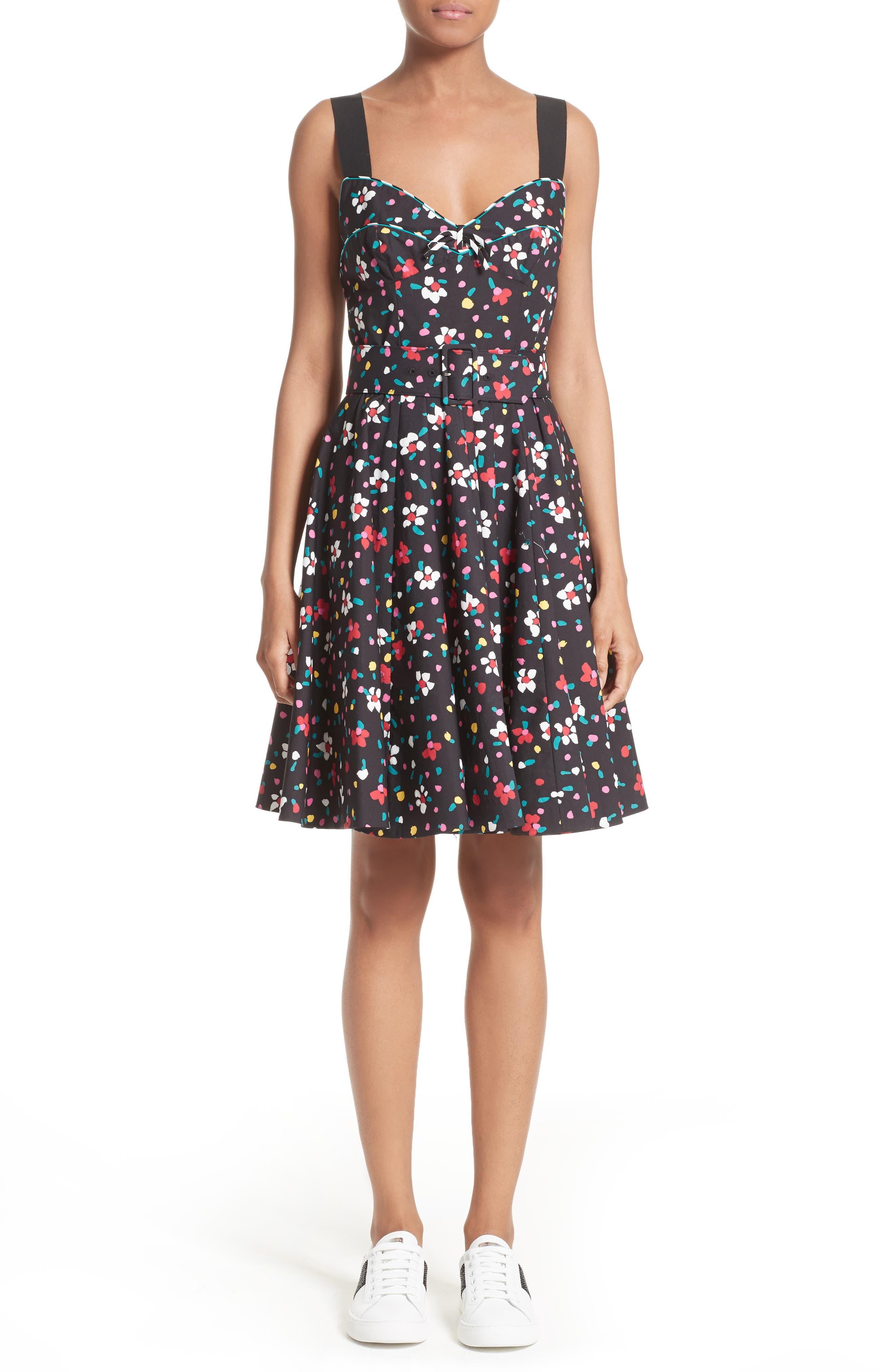 Floral Print Poplin Fit & Flare Dress,                         Main,                         color, Black Multi