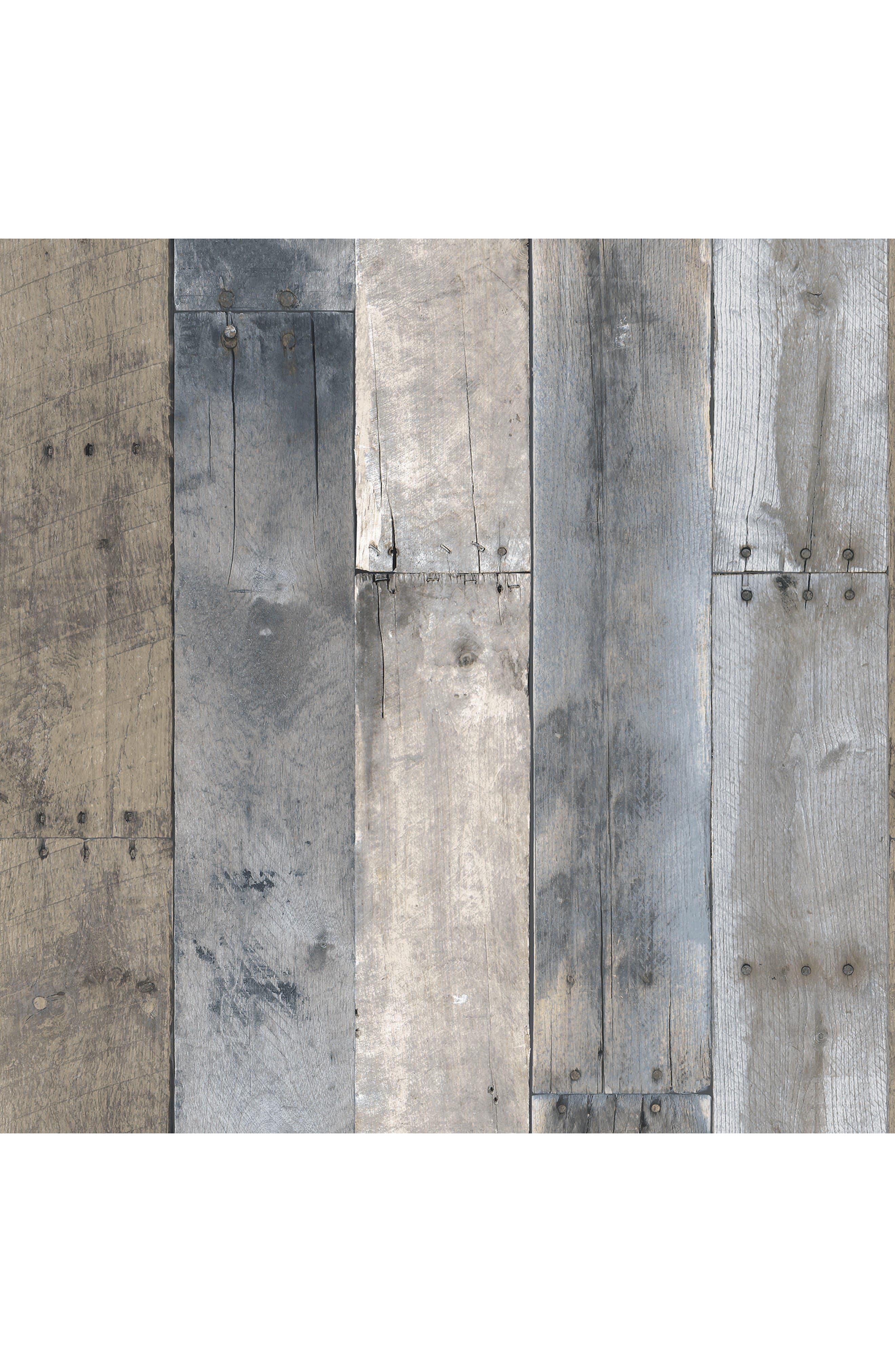 Main Image - Tempaper Repurposed Wood Self-Adhesive Vinyl Wallpaper