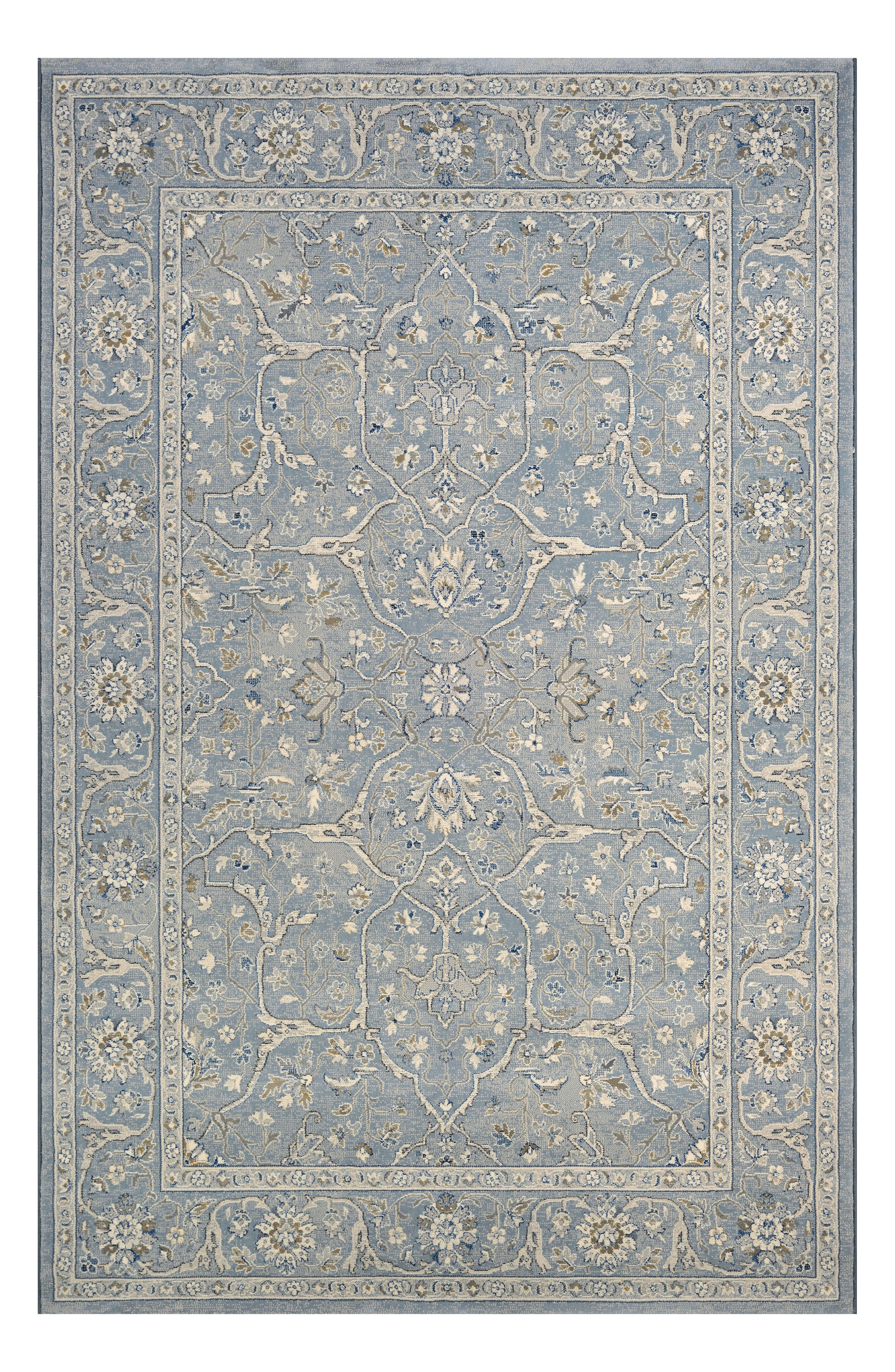 Floral Yazd Indoor/Outdoor Rug,                         Main,                         color, Slate Blue