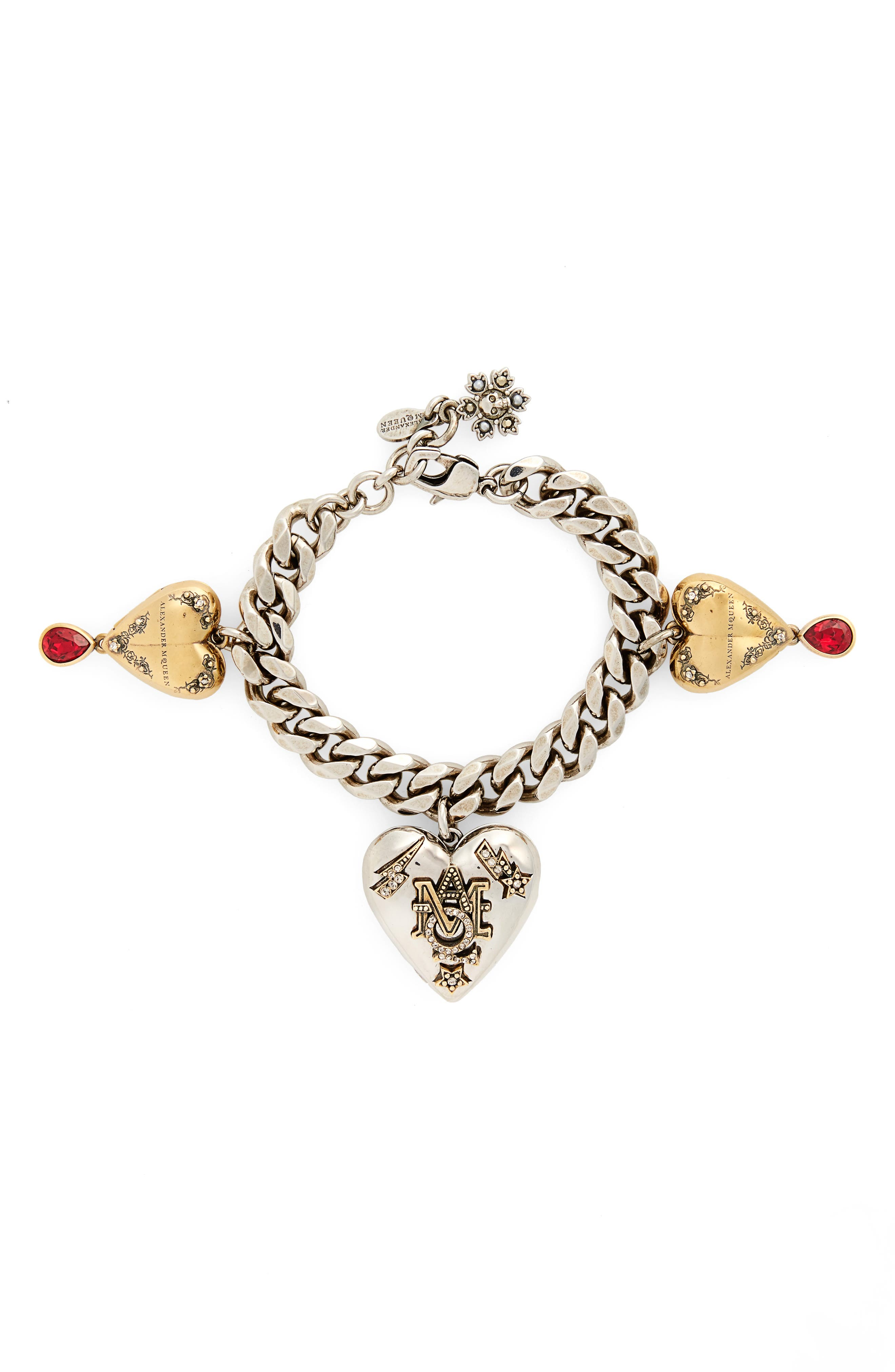 Heart Charm Bracelet,                             Main thumbnail 1, color,                             Red / Gold