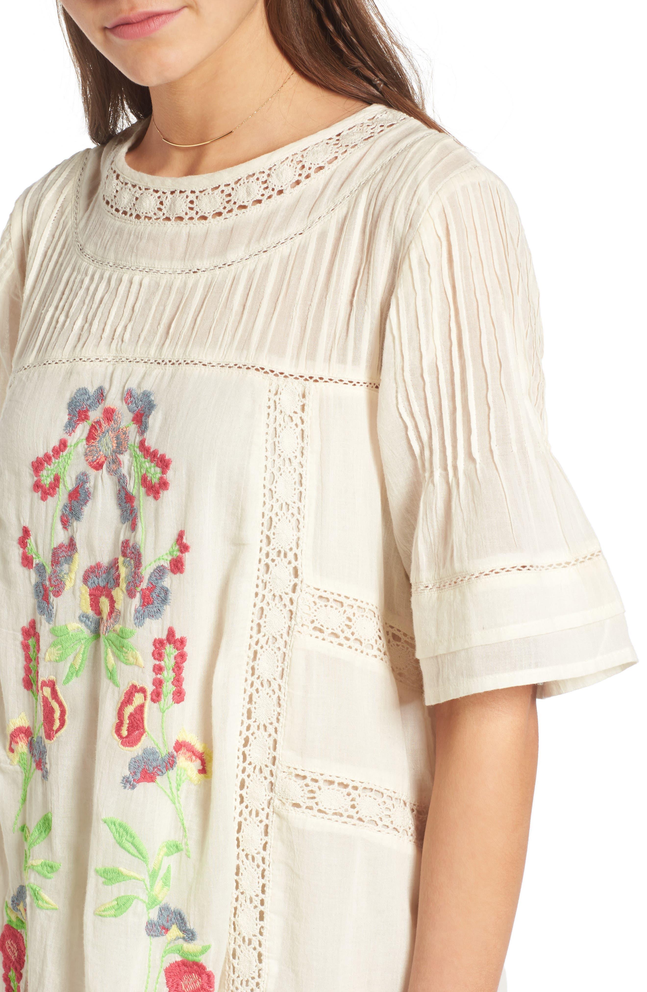 'Perfectly Victorian' Minidress,                             Alternate thumbnail 4, color,                             White