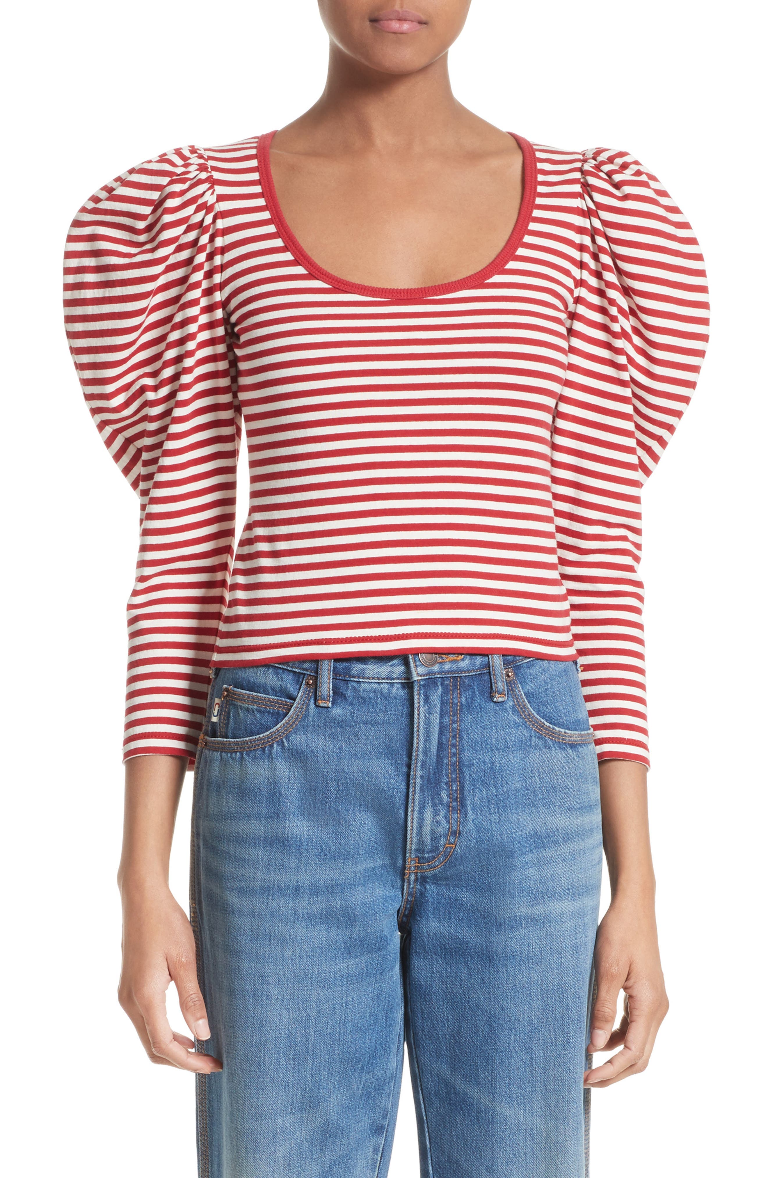 MARC JACOBS Stripe Cotton Puff Sleeve Top