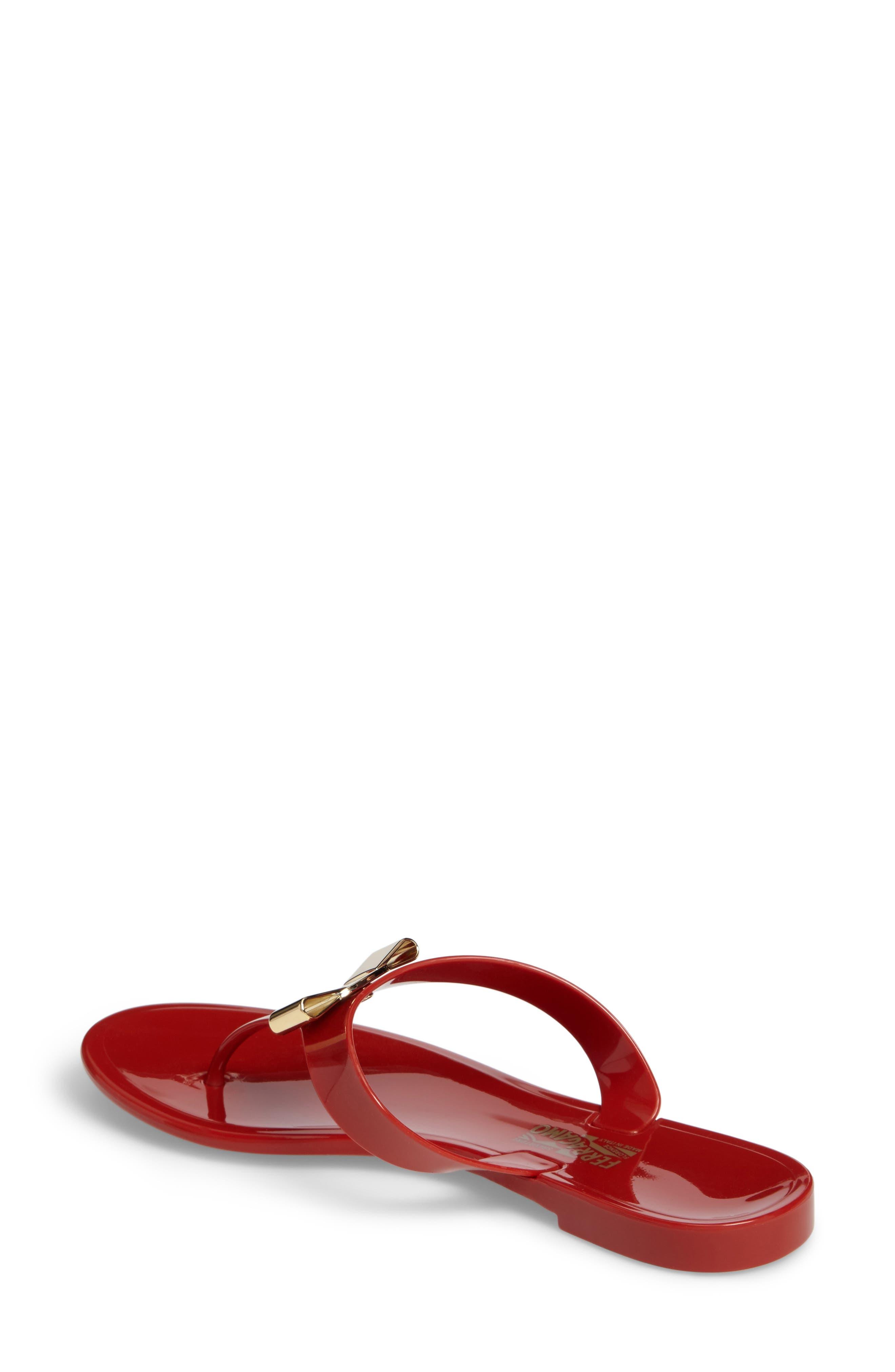 Farelia Jelly Flat Bow Sandal,                             Alternate thumbnail 2, color,                             Red Pvc