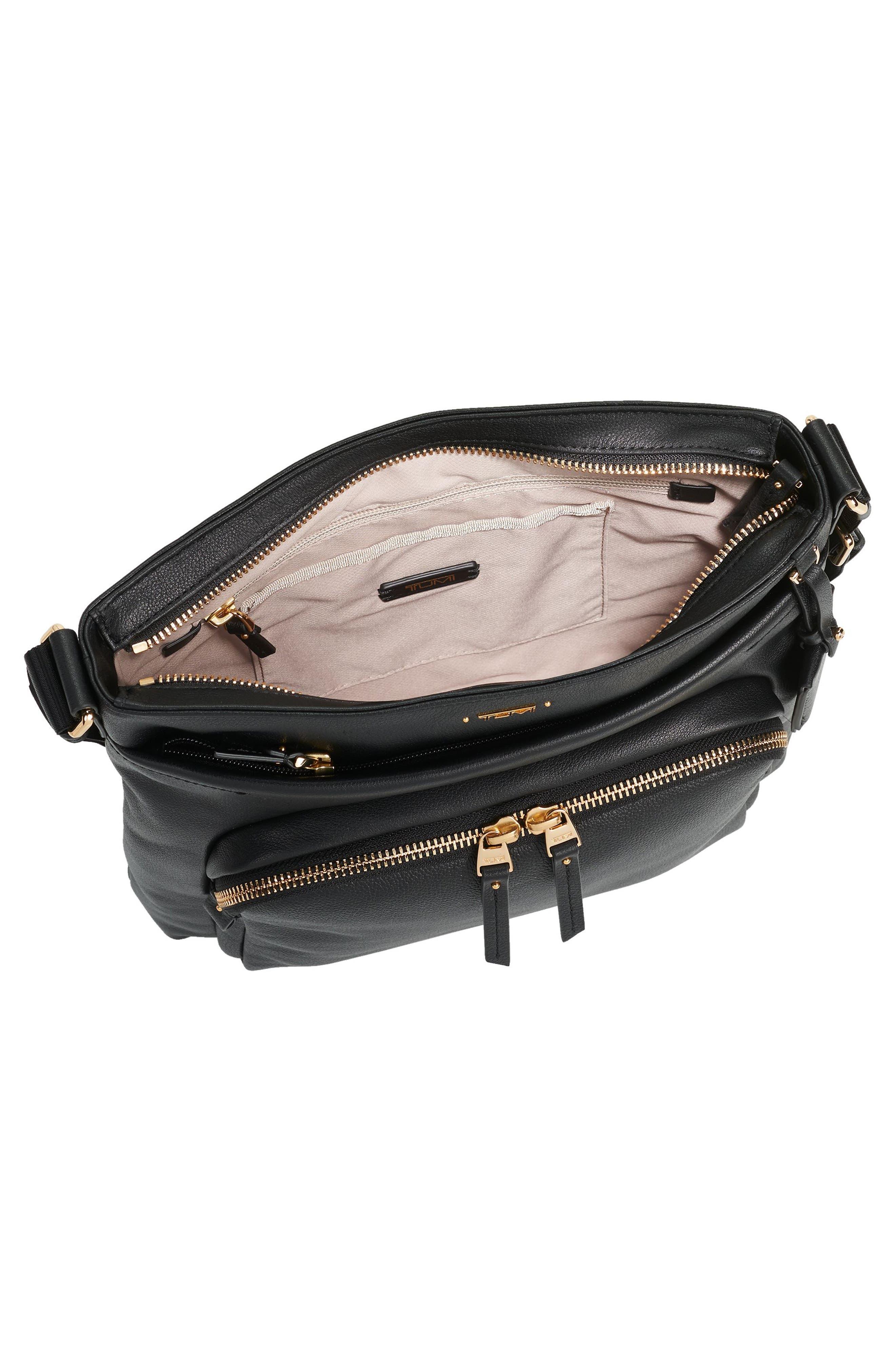 Voyageur - Capri Leather Crossbody Bag,                             Alternate thumbnail 3, color,                             Black