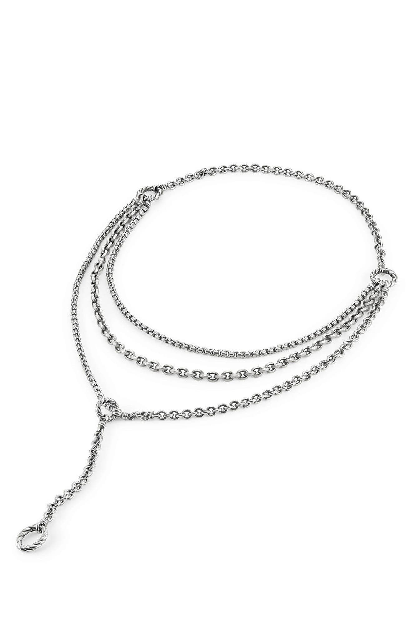 Mixed Chain Y-Necklace,                             Alternate thumbnail 2, color,                             Silver