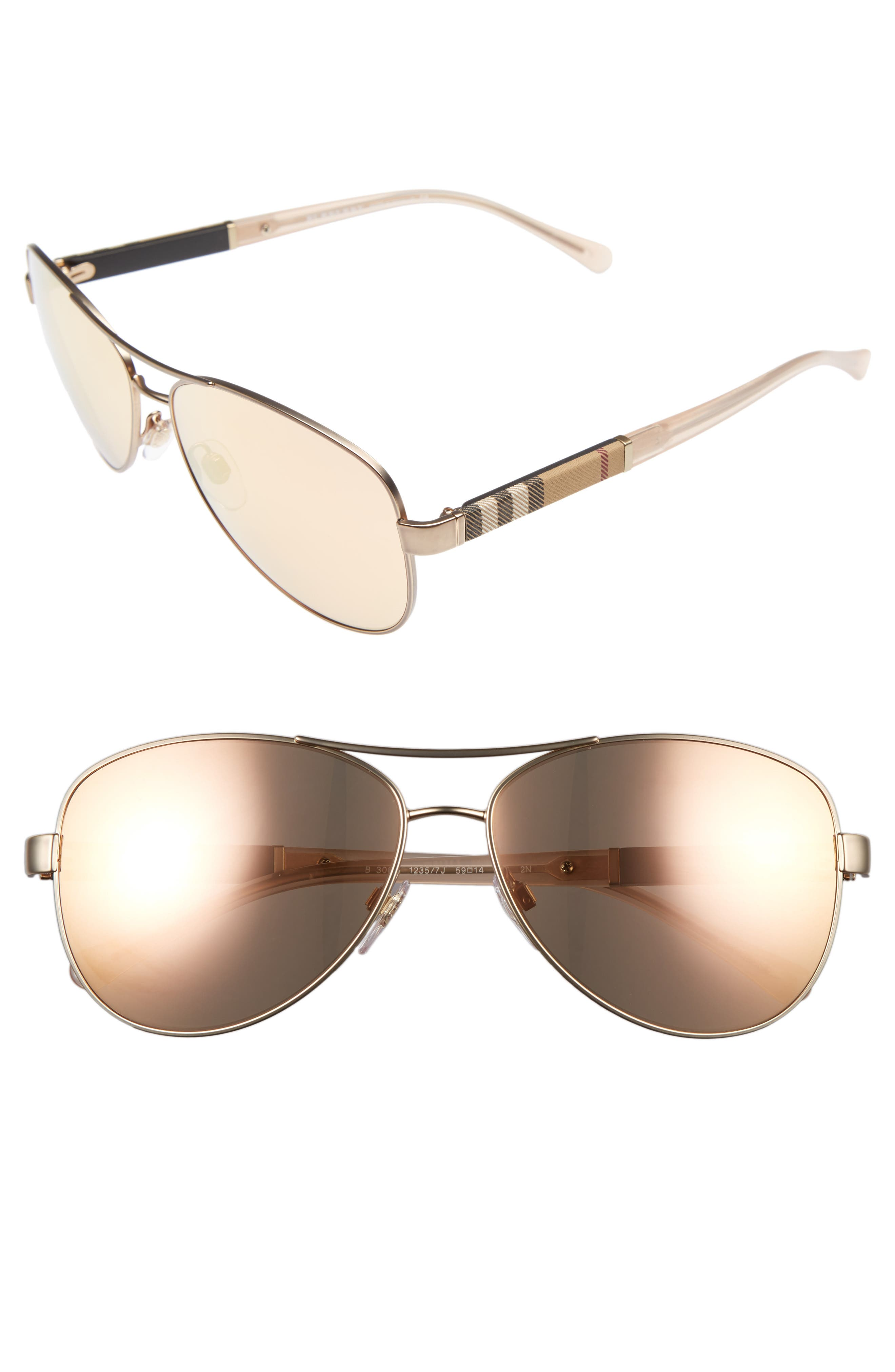 59mm Mirrored Aviator Sunglasses,                             Main thumbnail 1, color,                             Matte Gold