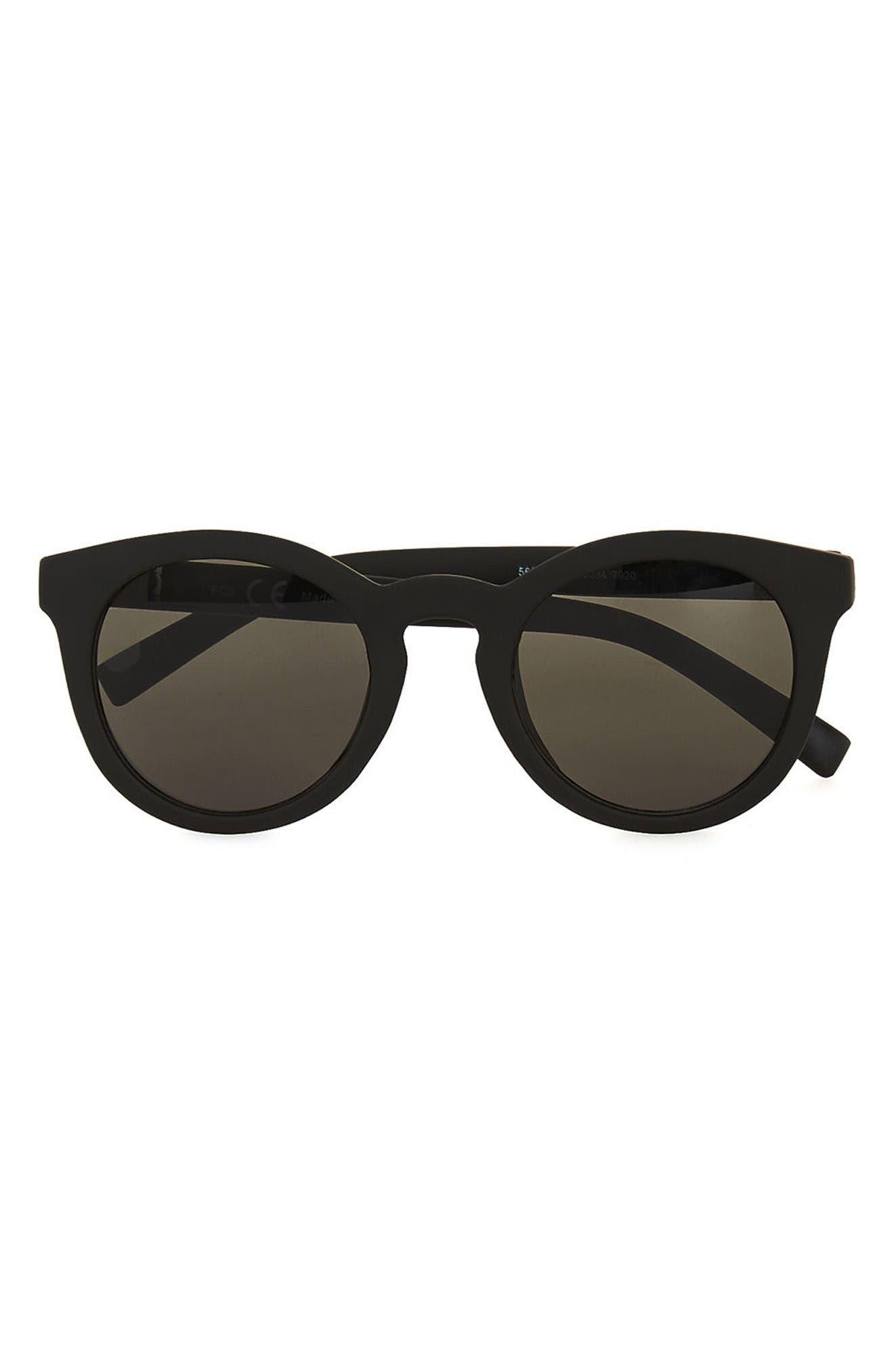 46mm Rubberized Round Sunglasses,                         Main,                         color, Black