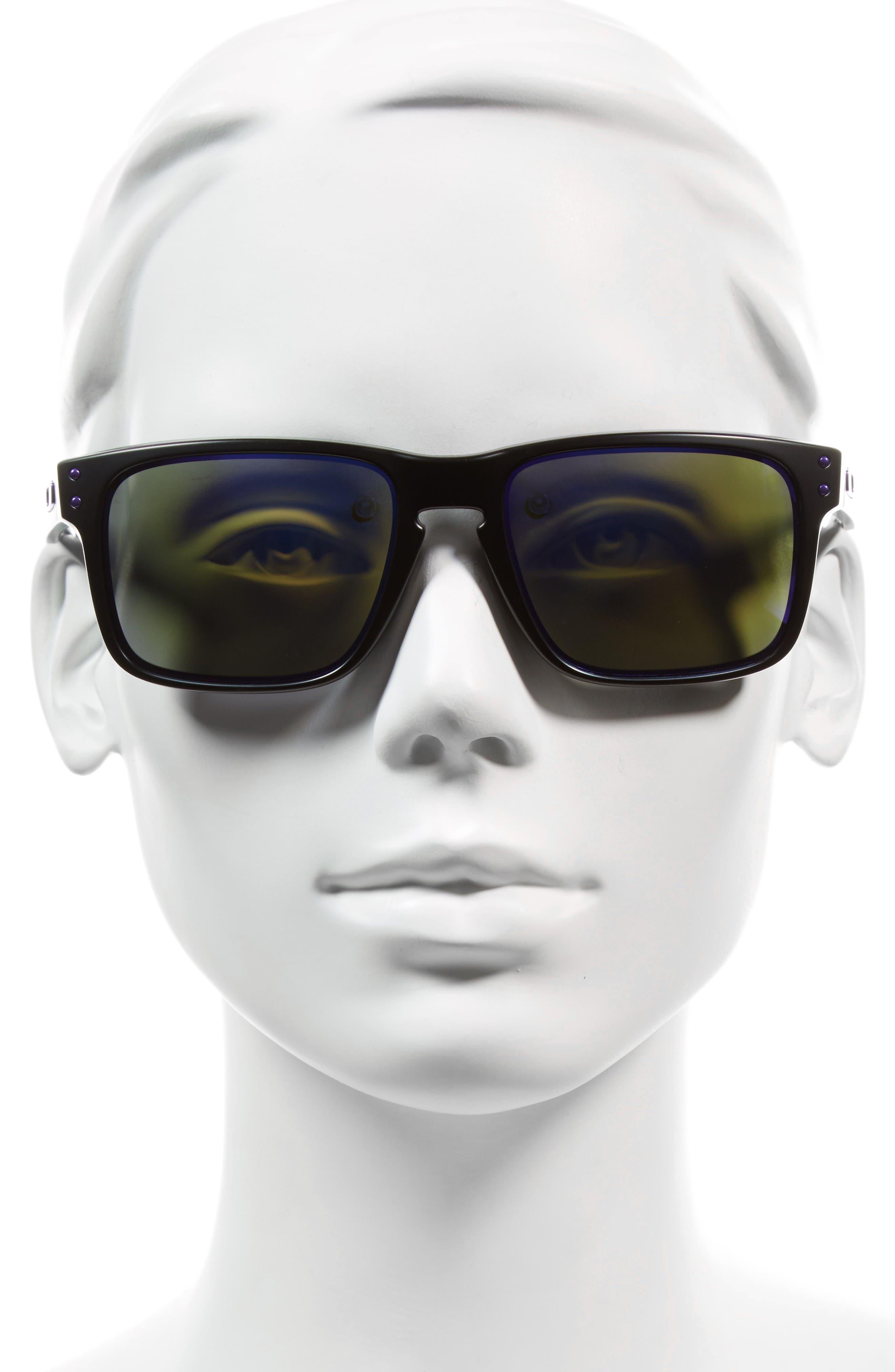 Julian Wilson Signature Series Holbrook 57mm Sunglasses,                             Alternate thumbnail 2, color,                             Matte Black/ Violet Iridium