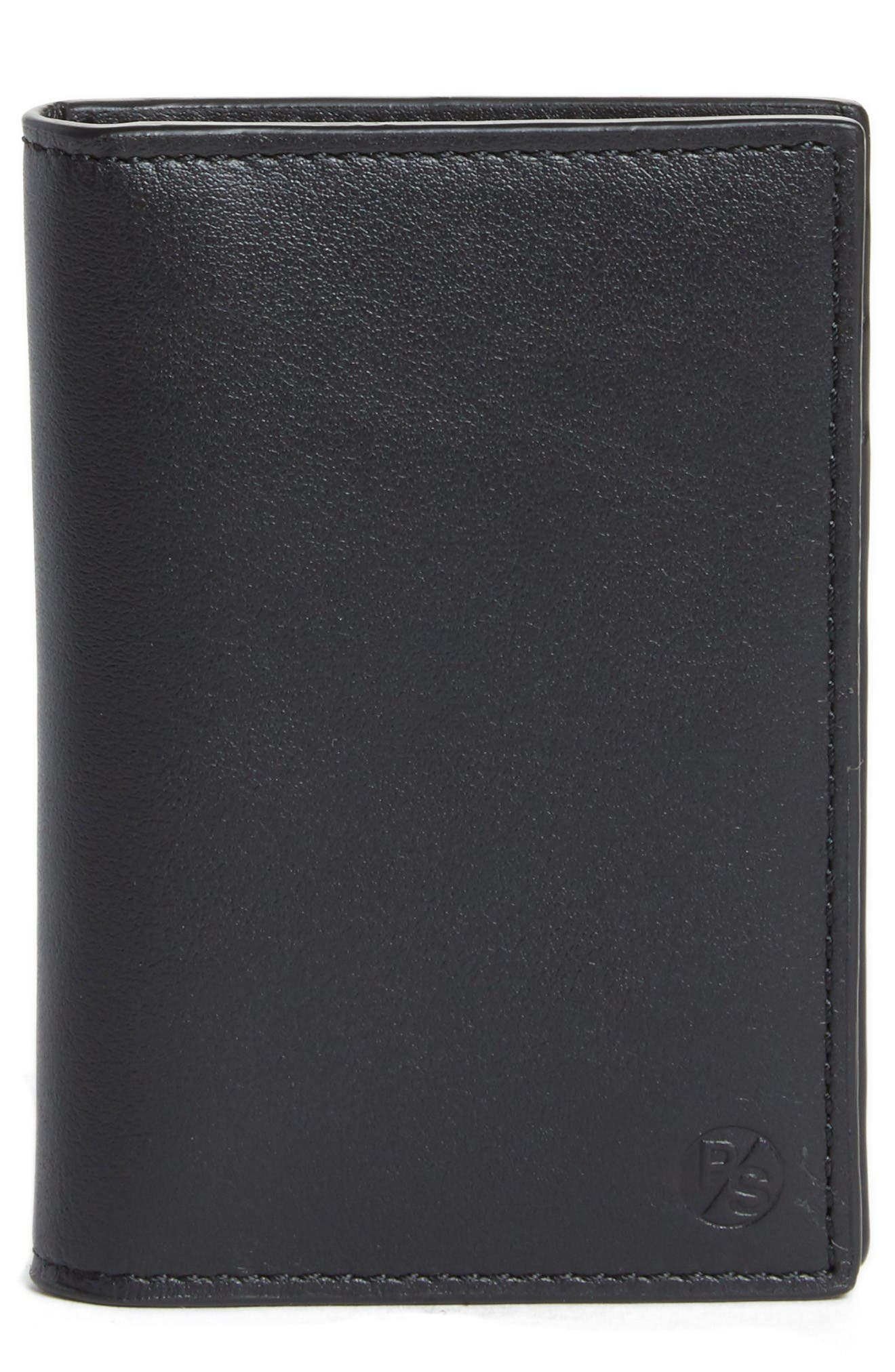 Color Accent Leather Wallet,                             Main thumbnail 1, color,                             Black
