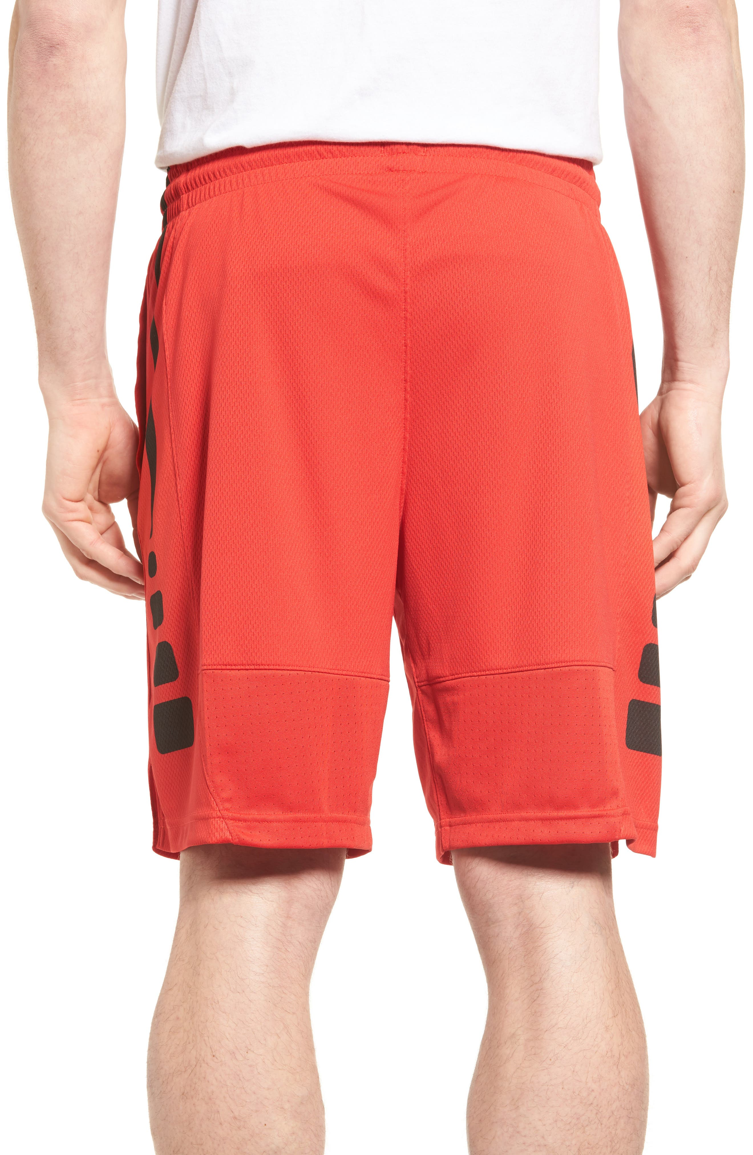 Elite Stripe Basketball Shorts,                             Alternate thumbnail 2, color,                             University Red/ Black