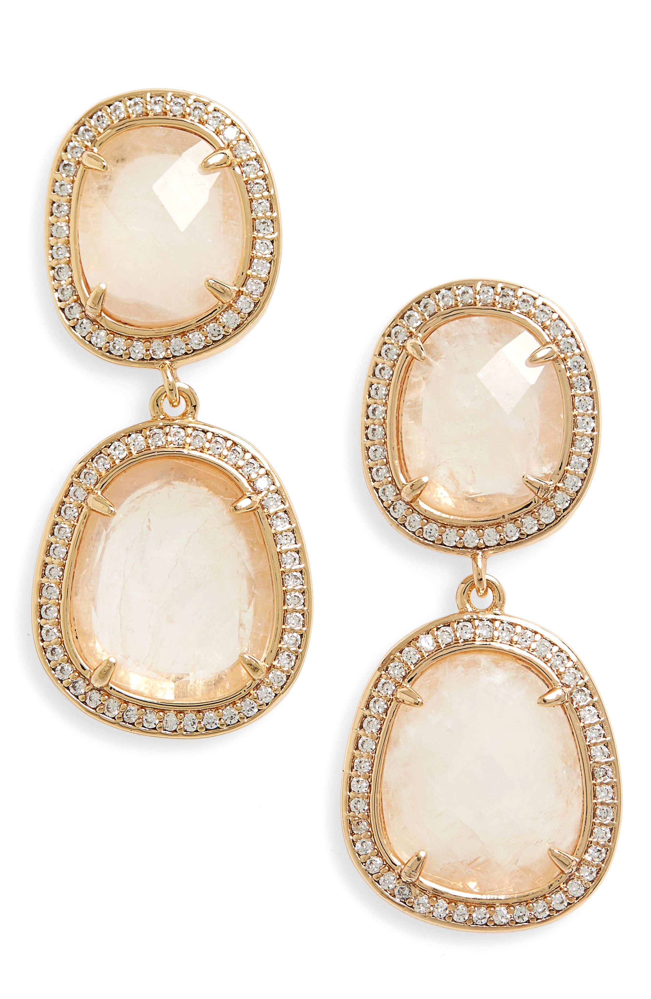 Double Drop Earrings,                         Main,                         color, Moonstone/ Gold