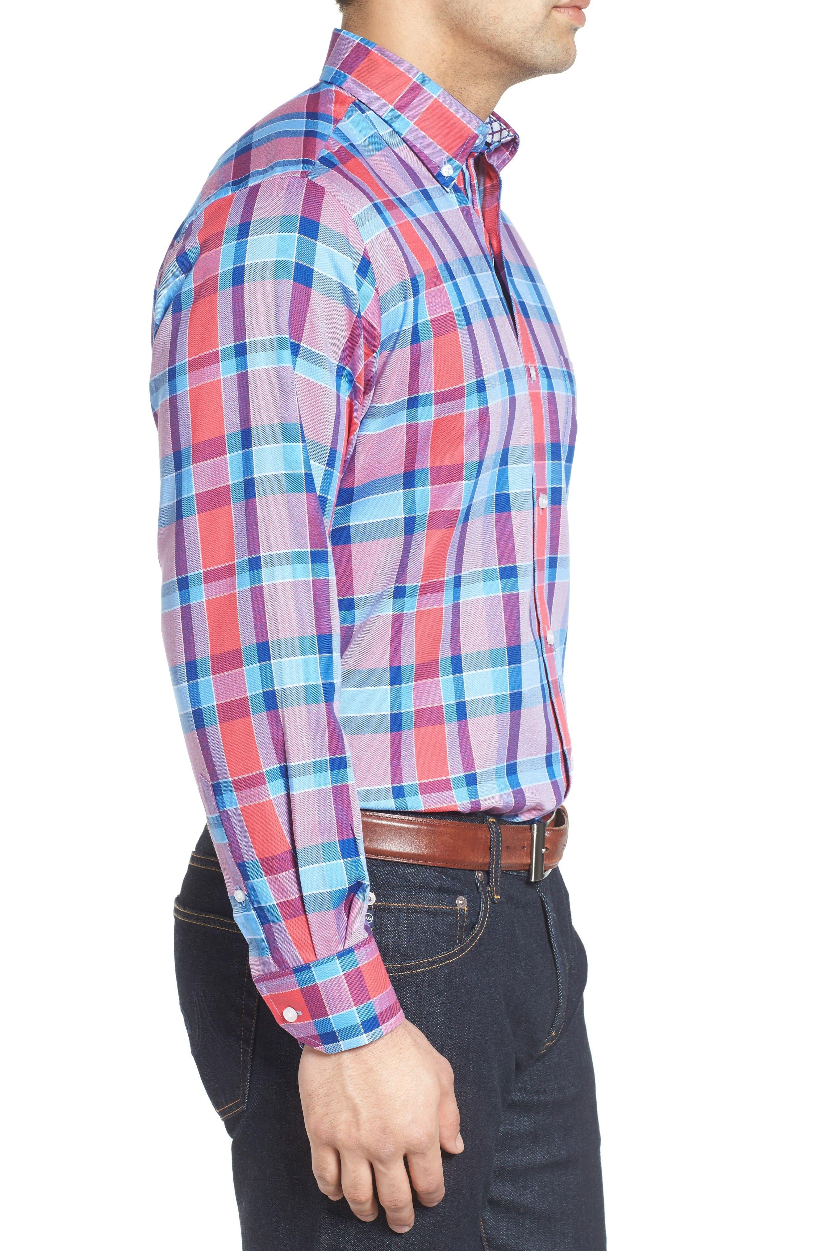 Alternate Image 3  - Tailorbyrd Redwood Plaid Sport Shirt