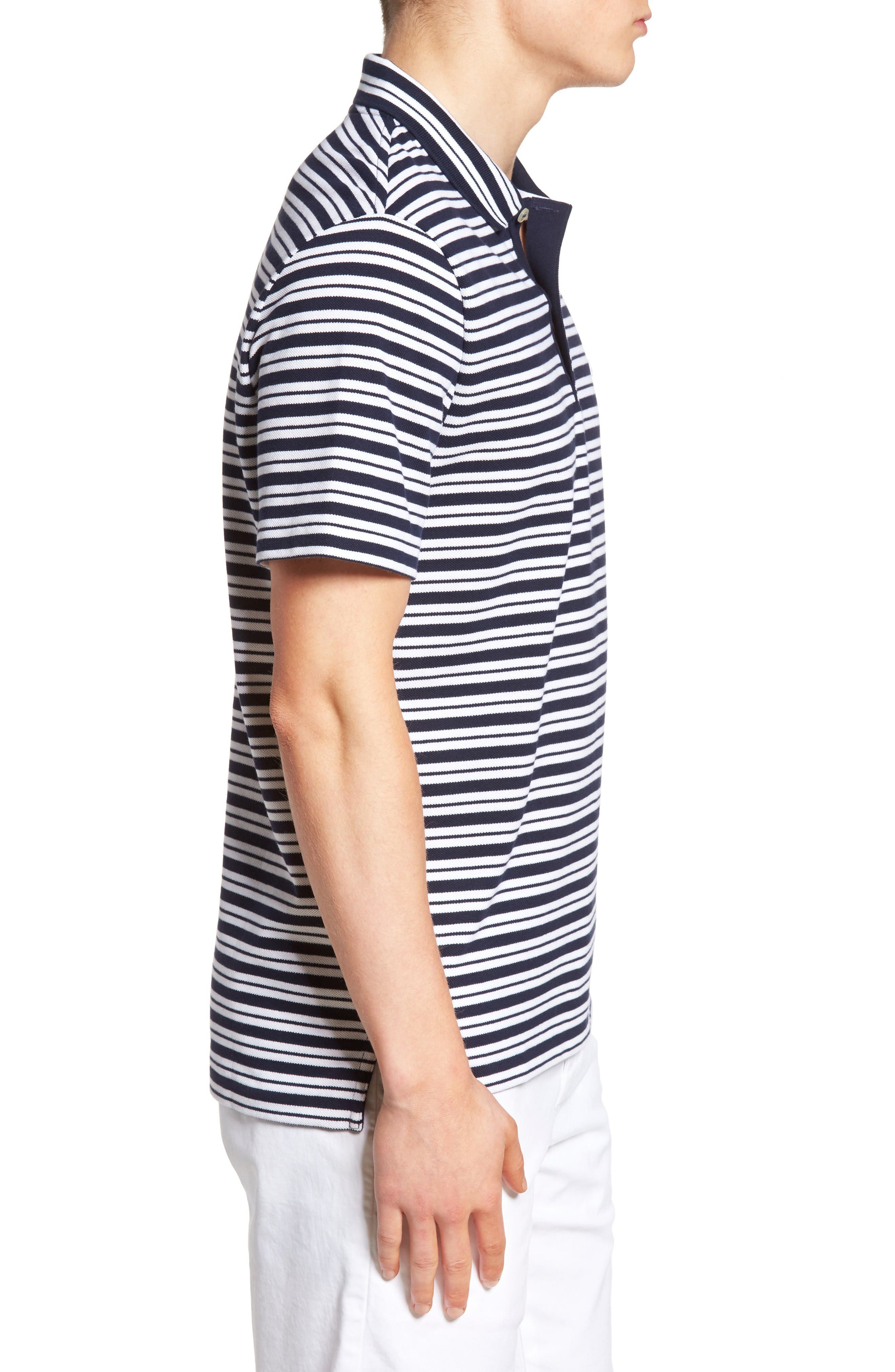 Striped Polo,                             Alternate thumbnail 3, color,                             Navy Blue/ White