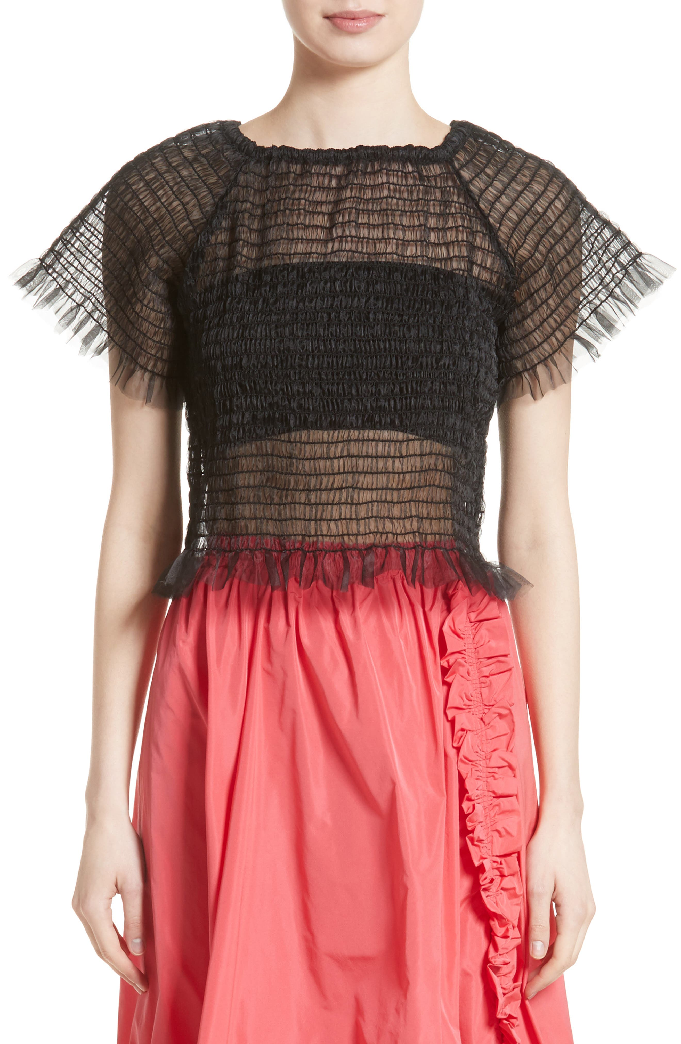 Blonde Tulle Top,                         Main,                         color, Black
