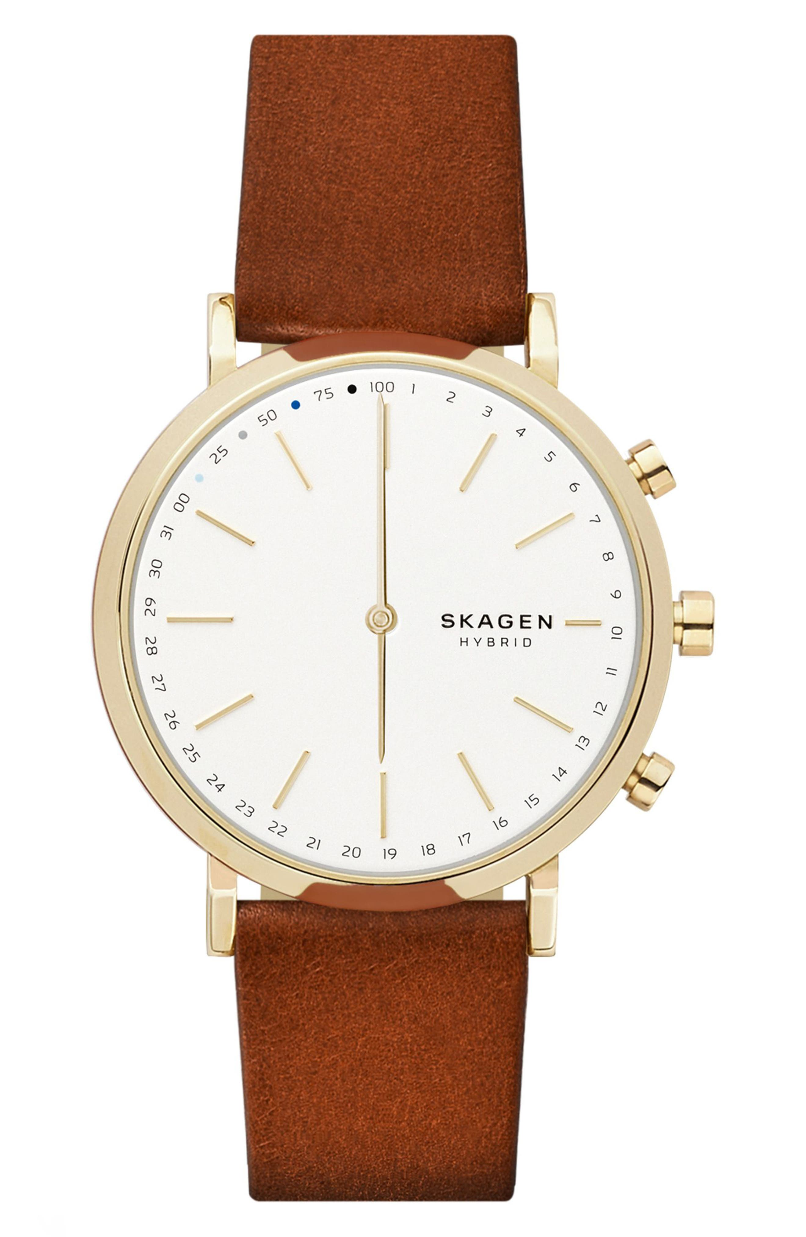 Hald Hybrid Leather Strap Smart Watch, 40mm,                         Main,                         color, Brown/ White/ Gold