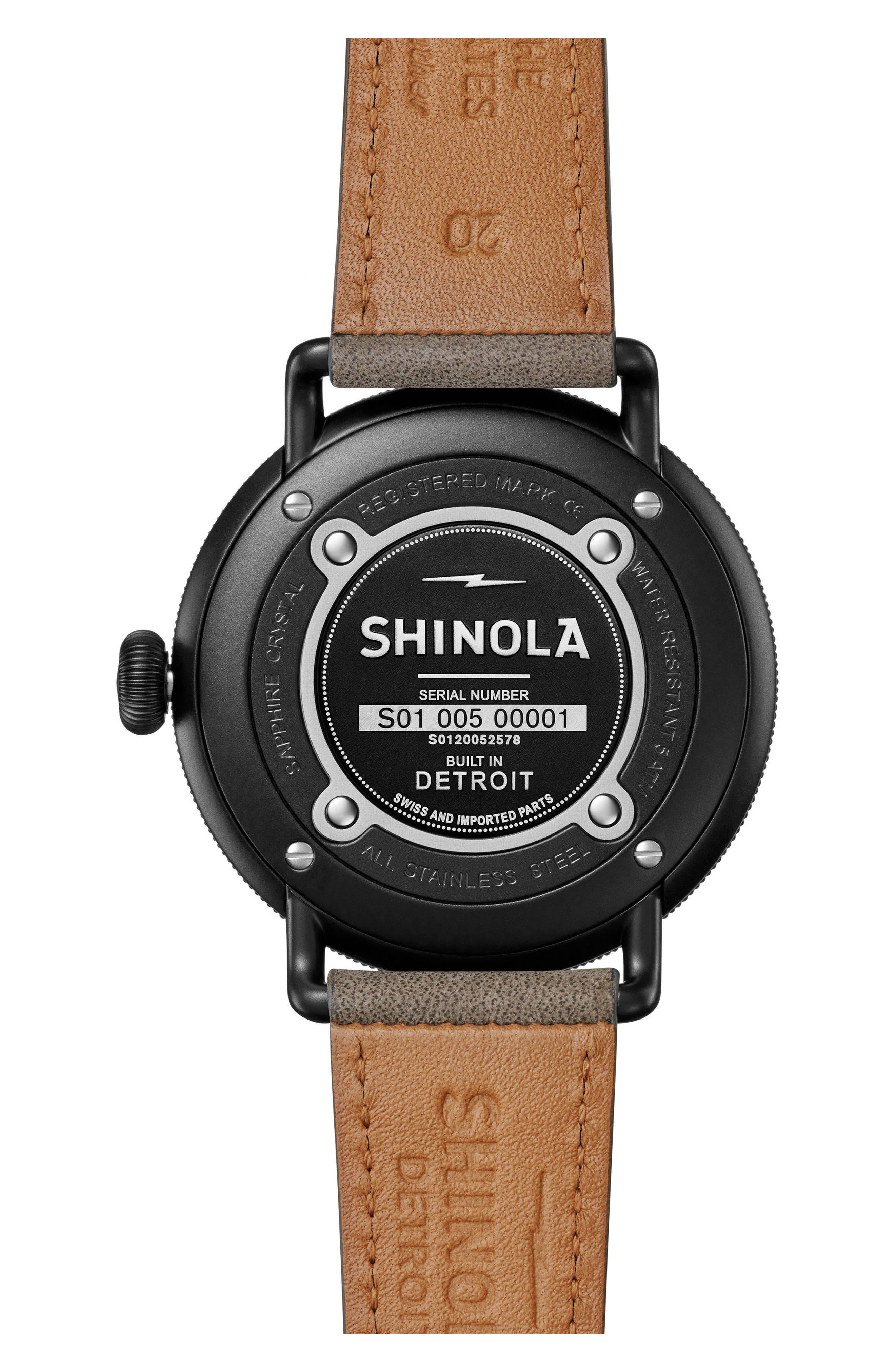 Bolt Leather Strap Watch, 42mm,                             Alternate thumbnail 2, color,                             Gray/ Black Sunray/ Black