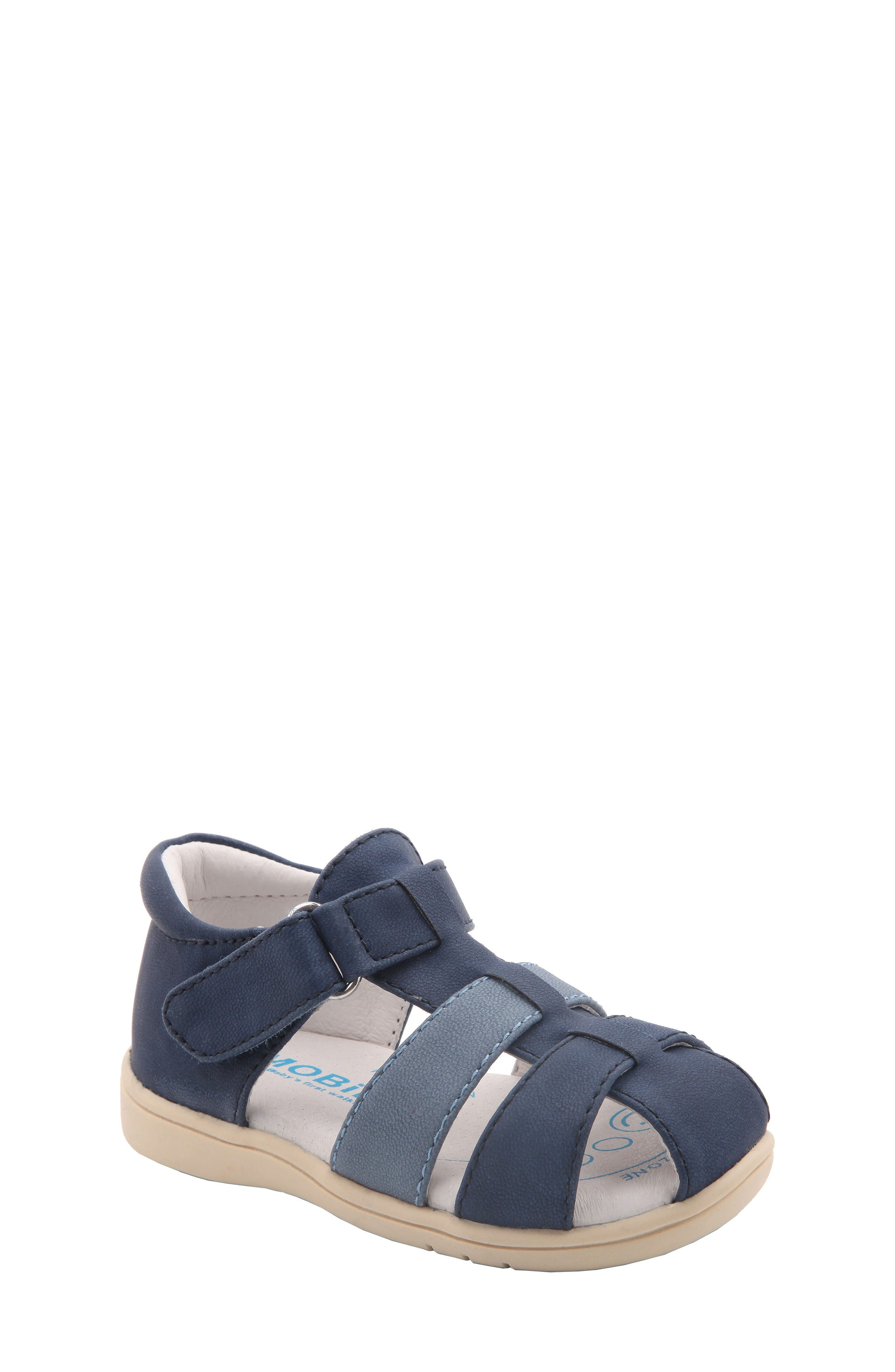 Gage Fisherman Sandal,                             Main thumbnail 1, color,                             Navy Faux Leather