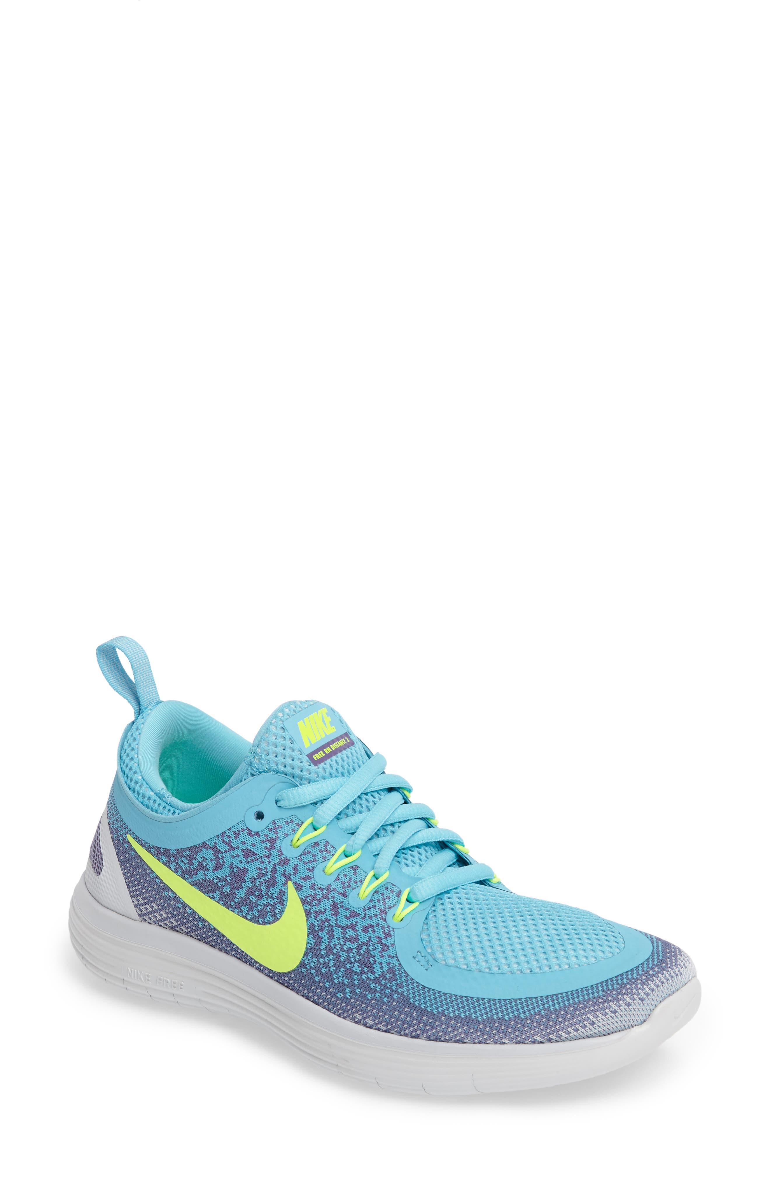 Free Run Distance 2 Running Shoe,                         Main,                         color, Polarized Blue/ Volt/ Purple