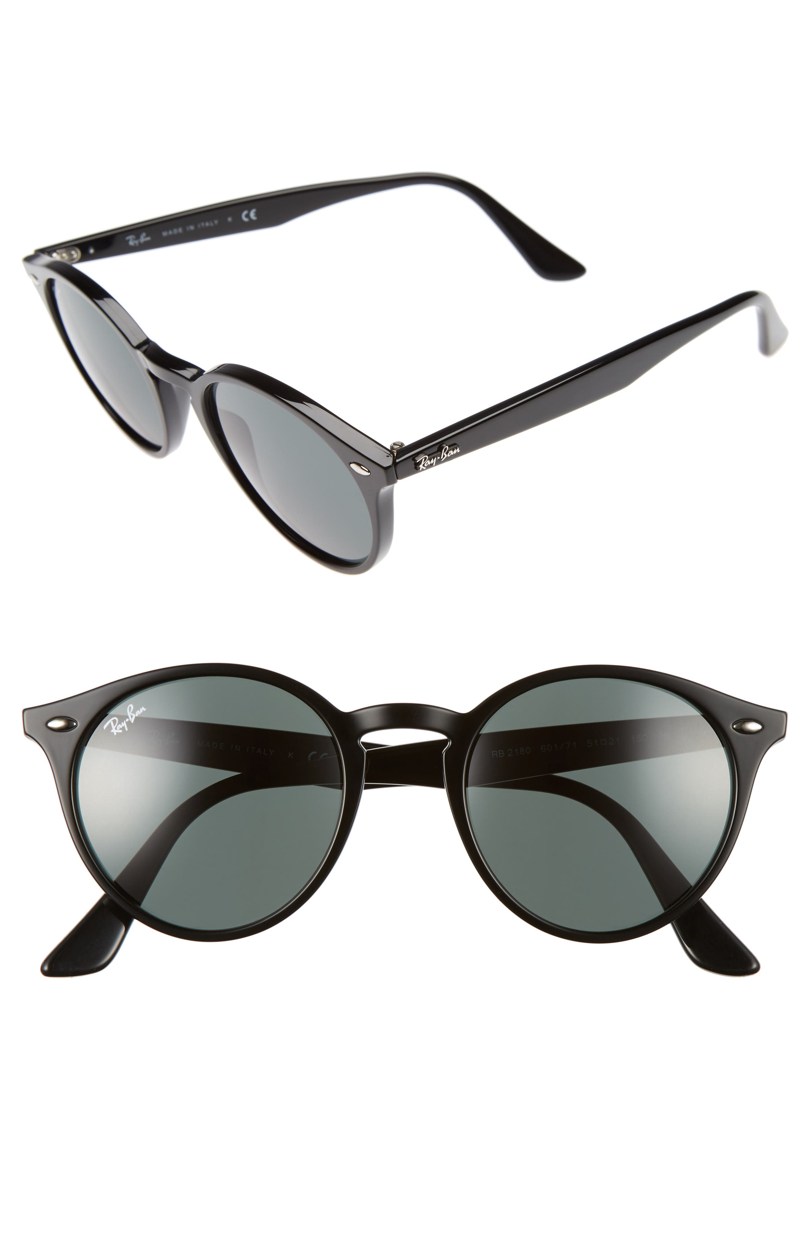 Highstreet 51mm Round Sunglasses,                         Main,                         color, Black