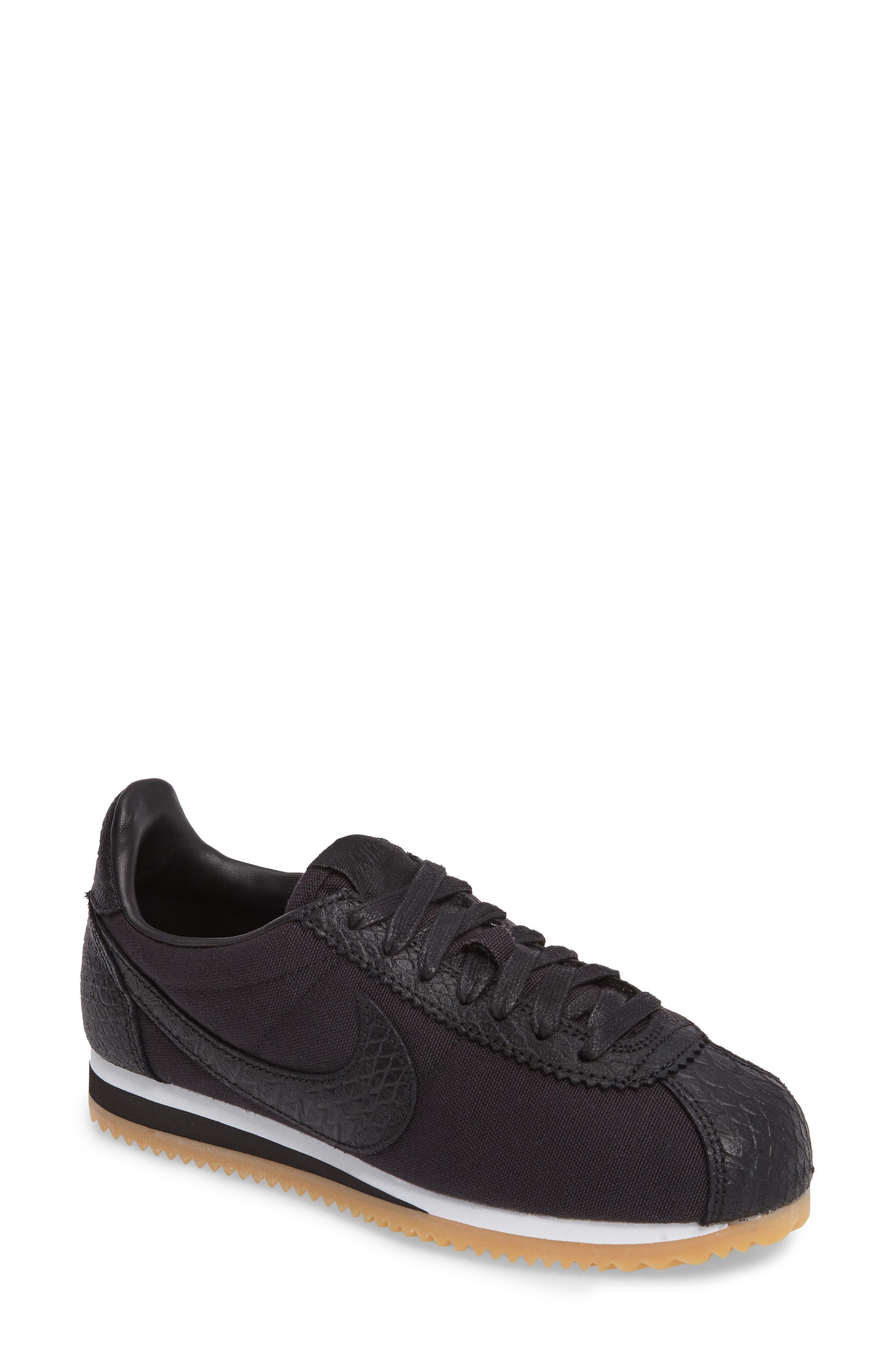 Classic Cortez SE Sneaker,                         Main,                         color, Black/ White/ Gum Yellow