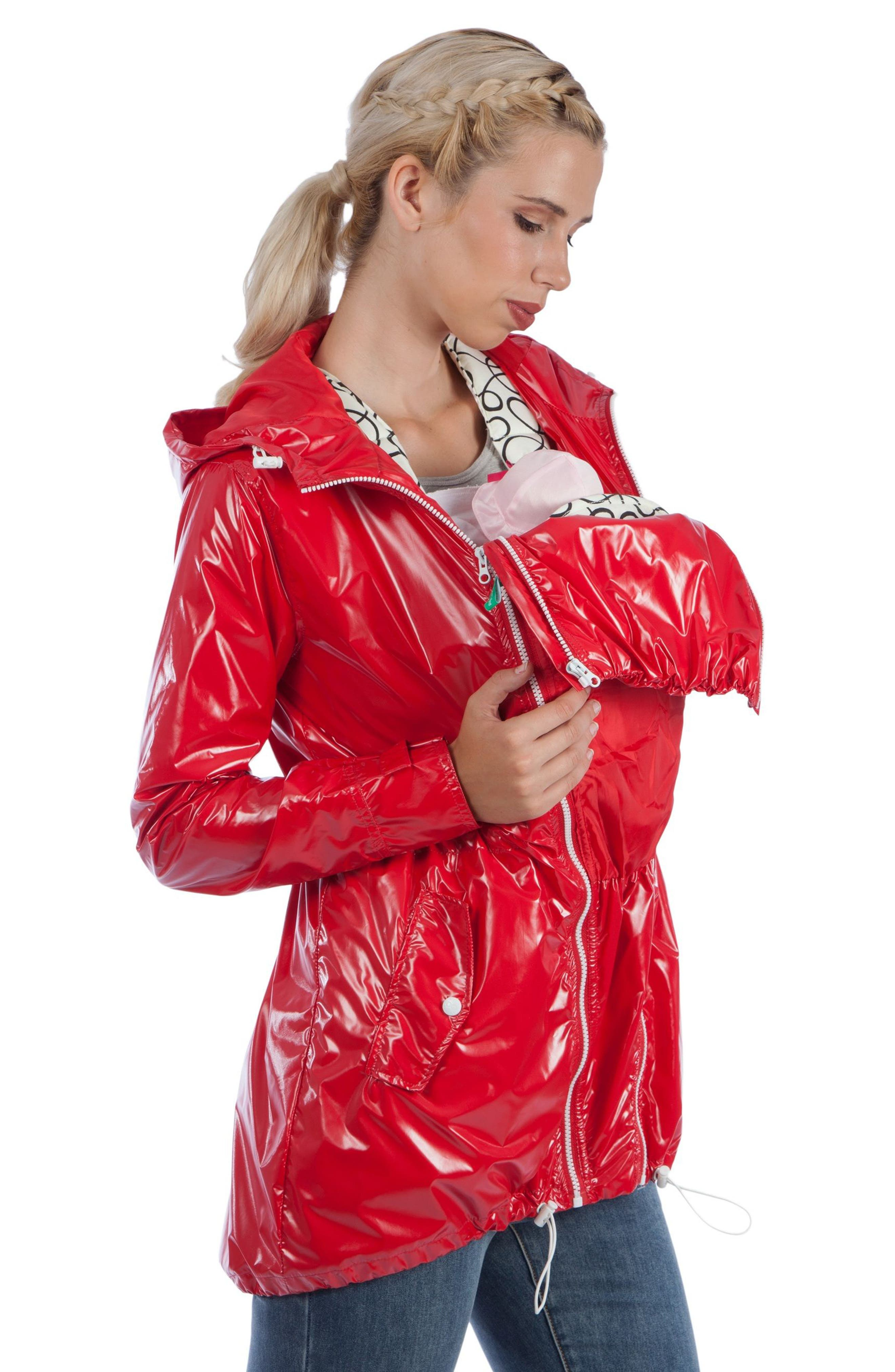 Waterproof Convertible 3-in-1 Maternity Raincoat,                             Alternate thumbnail 2, color,                             Red