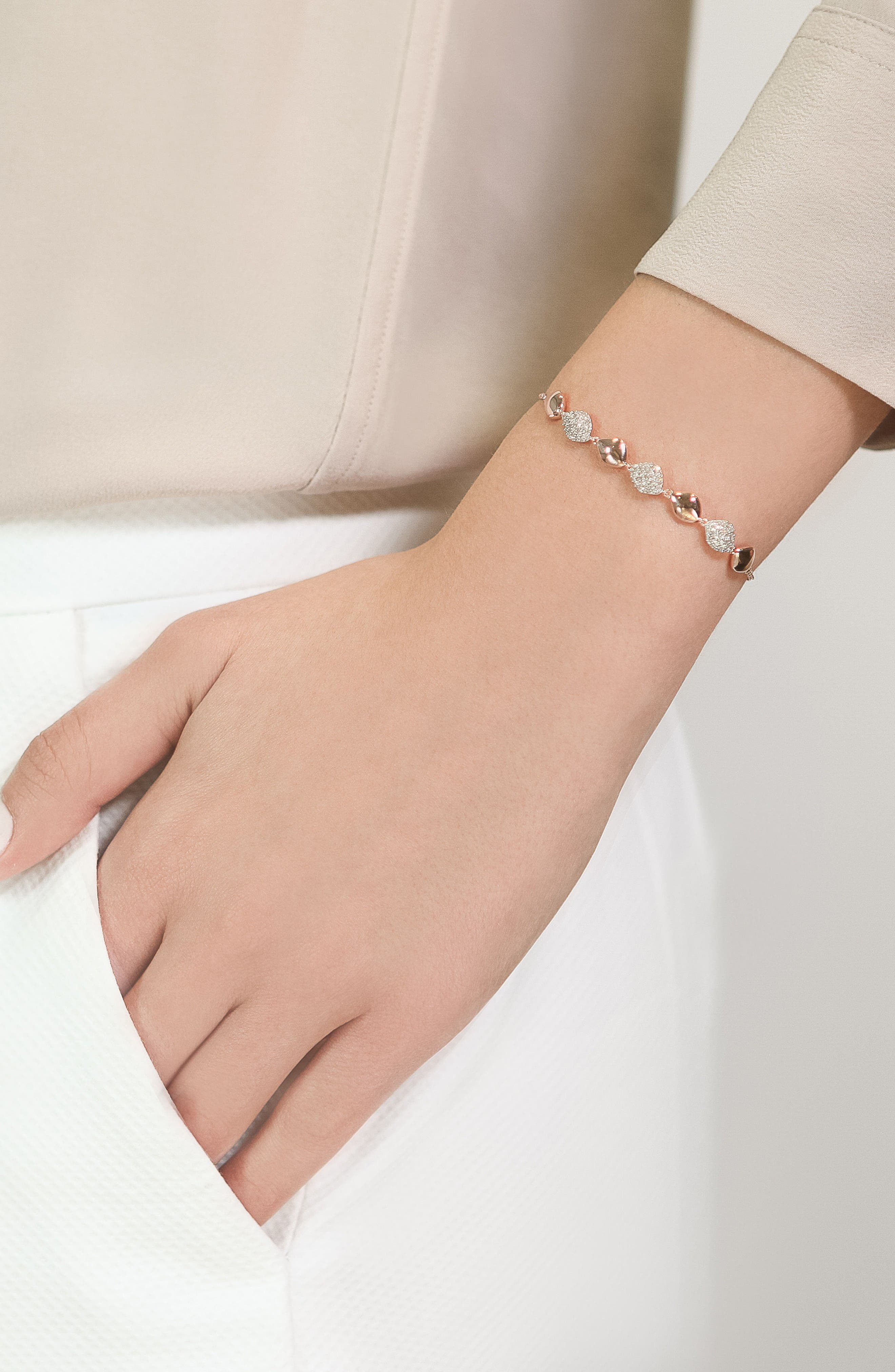 Nura Teardrop Diamond Bracelet,                             Alternate thumbnail 2, color,                             Rose Gold/ Diamond