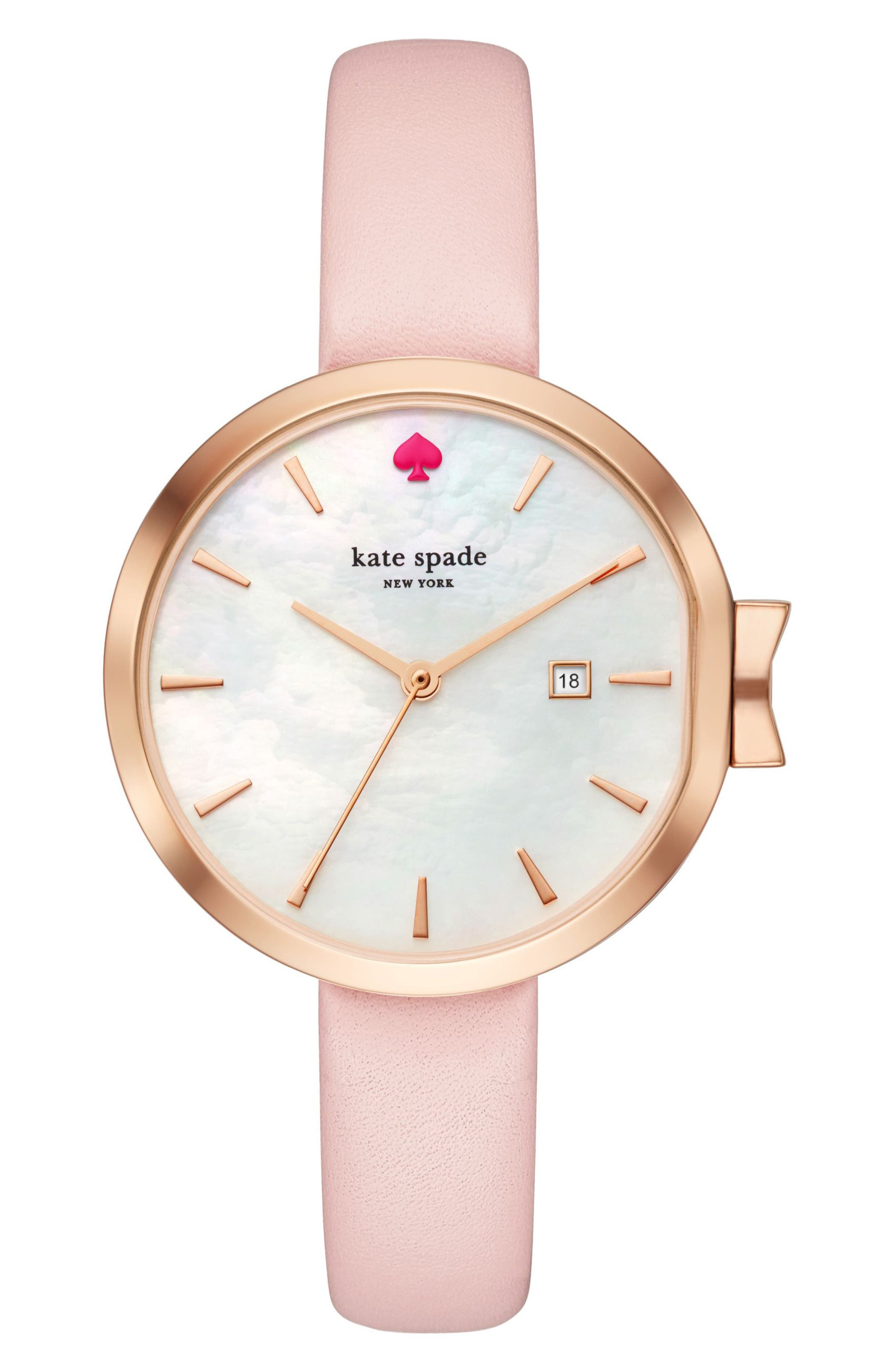 Main Image - kate spade new york park row leather strap watch, 34mm