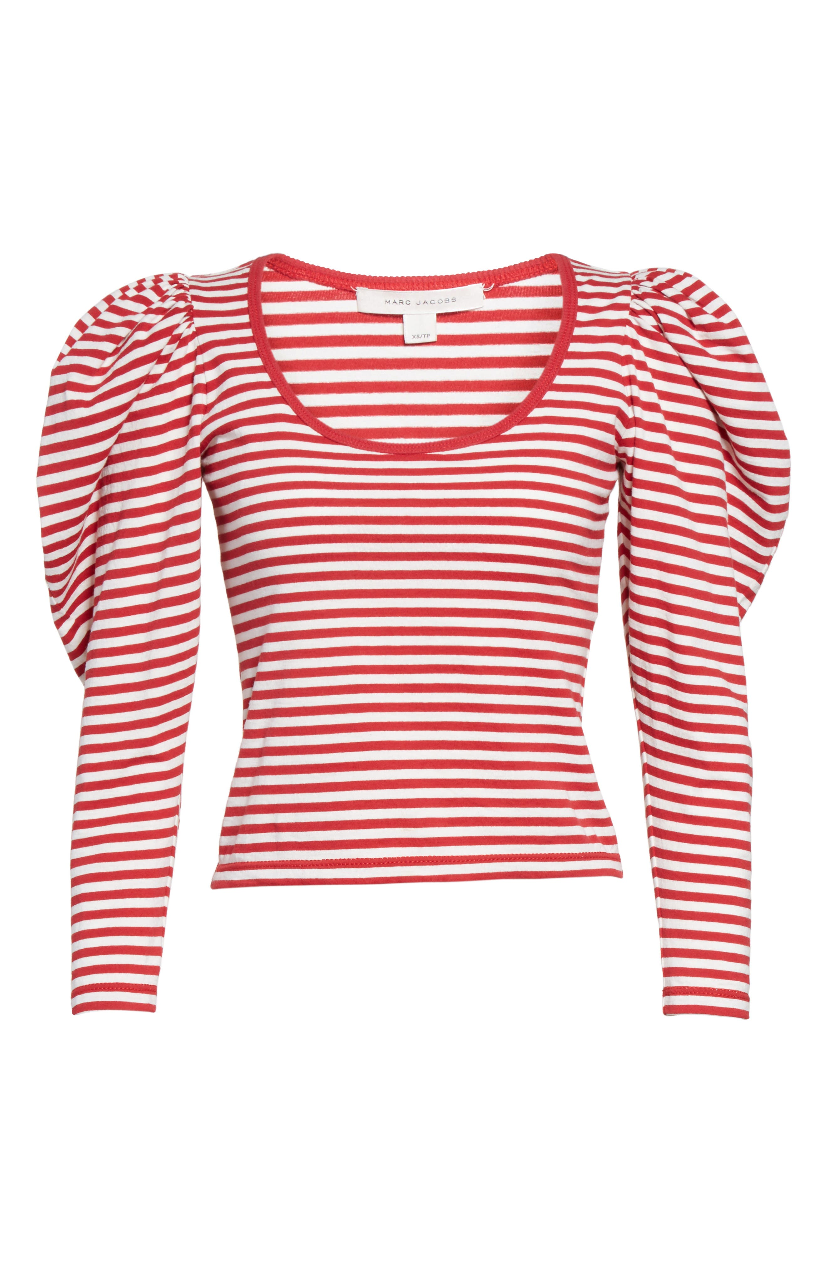 Alternate Image 4  - MARC JACOBS Stripe Cotton Puff Sleeve Top