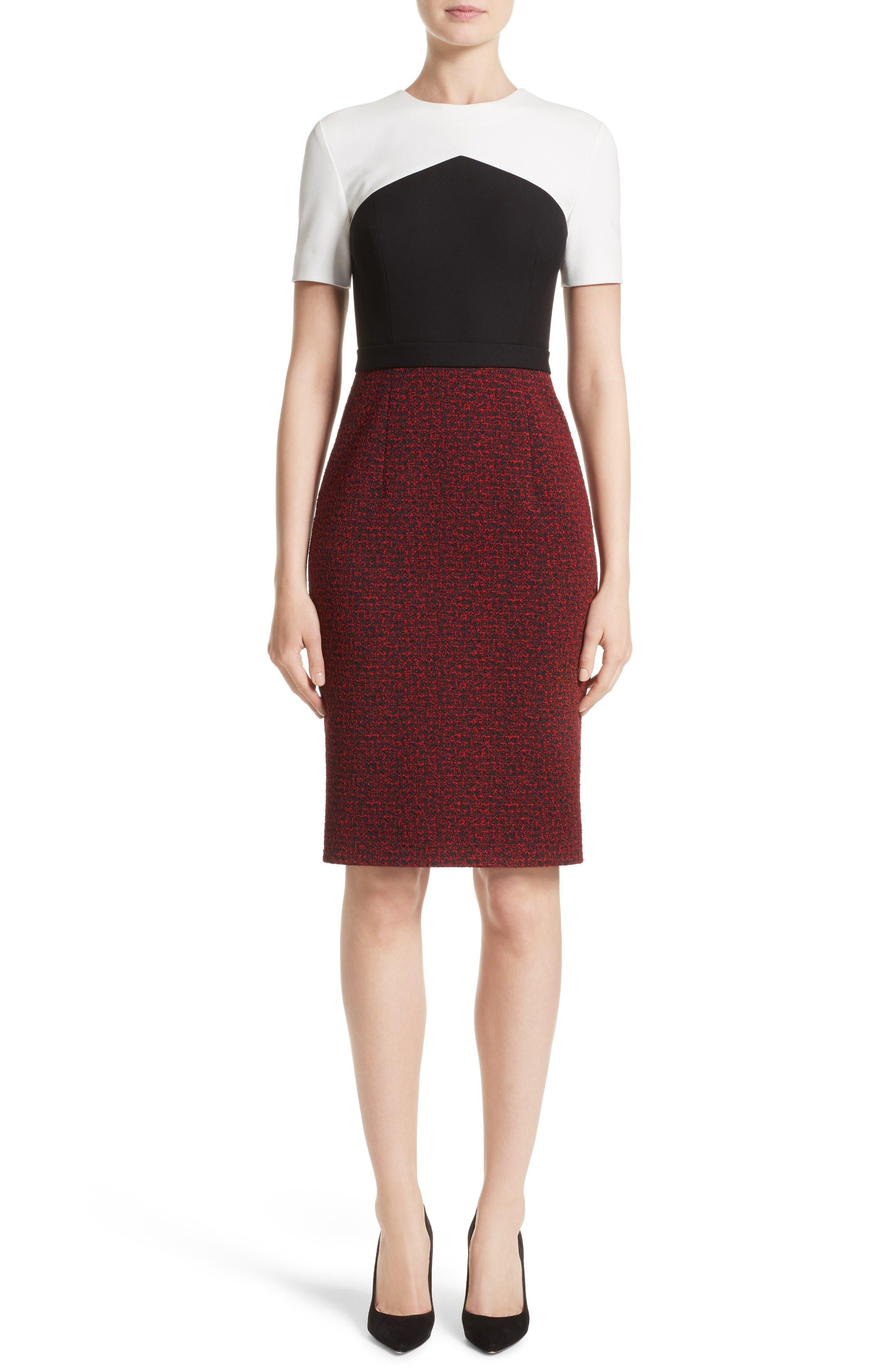 Jason Wu Tweed Knit Jacquard Colorblock Dress