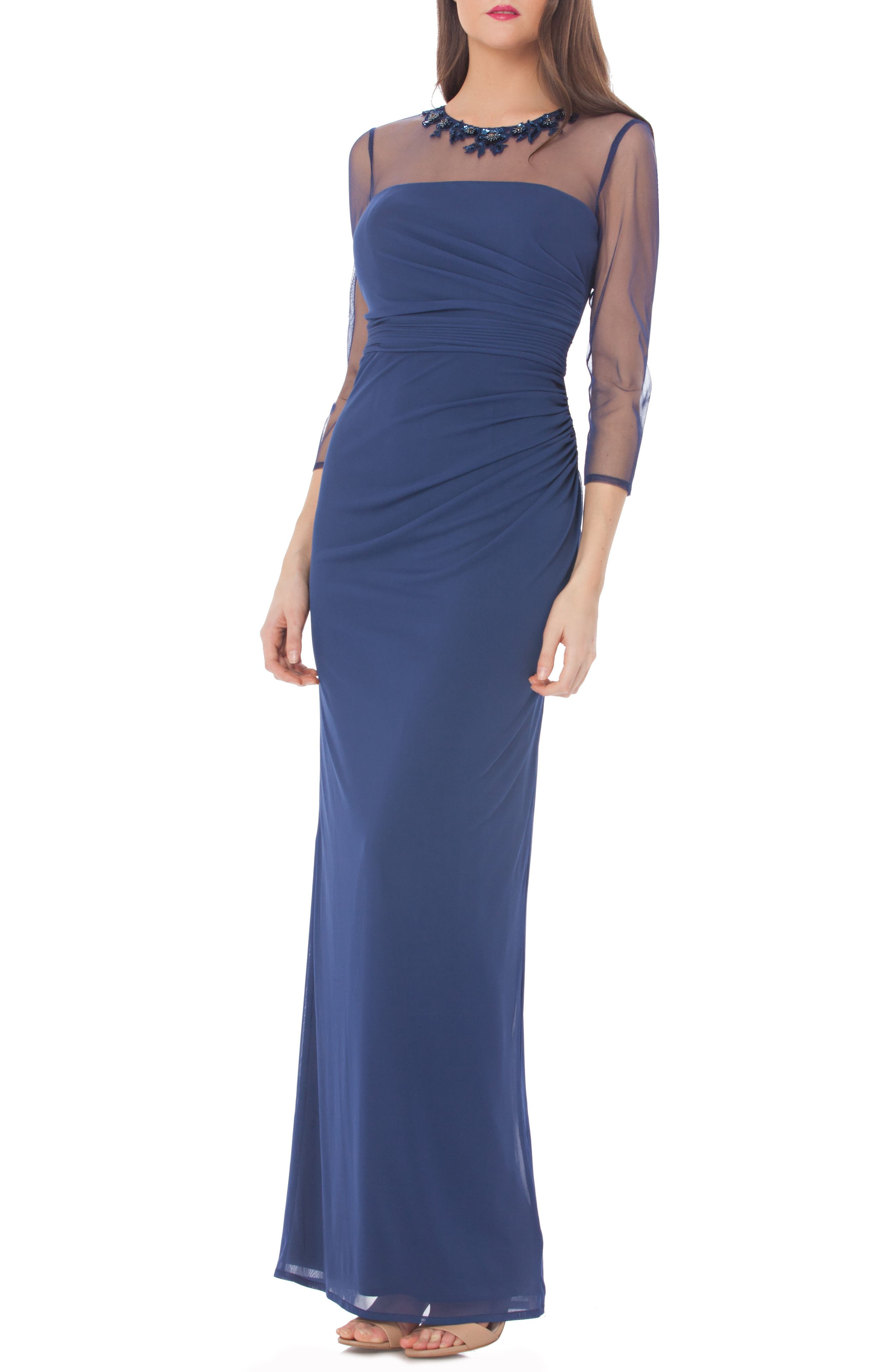 Embellished Illusion Shirred Jersey Gown,                         Main,                         color, Navy