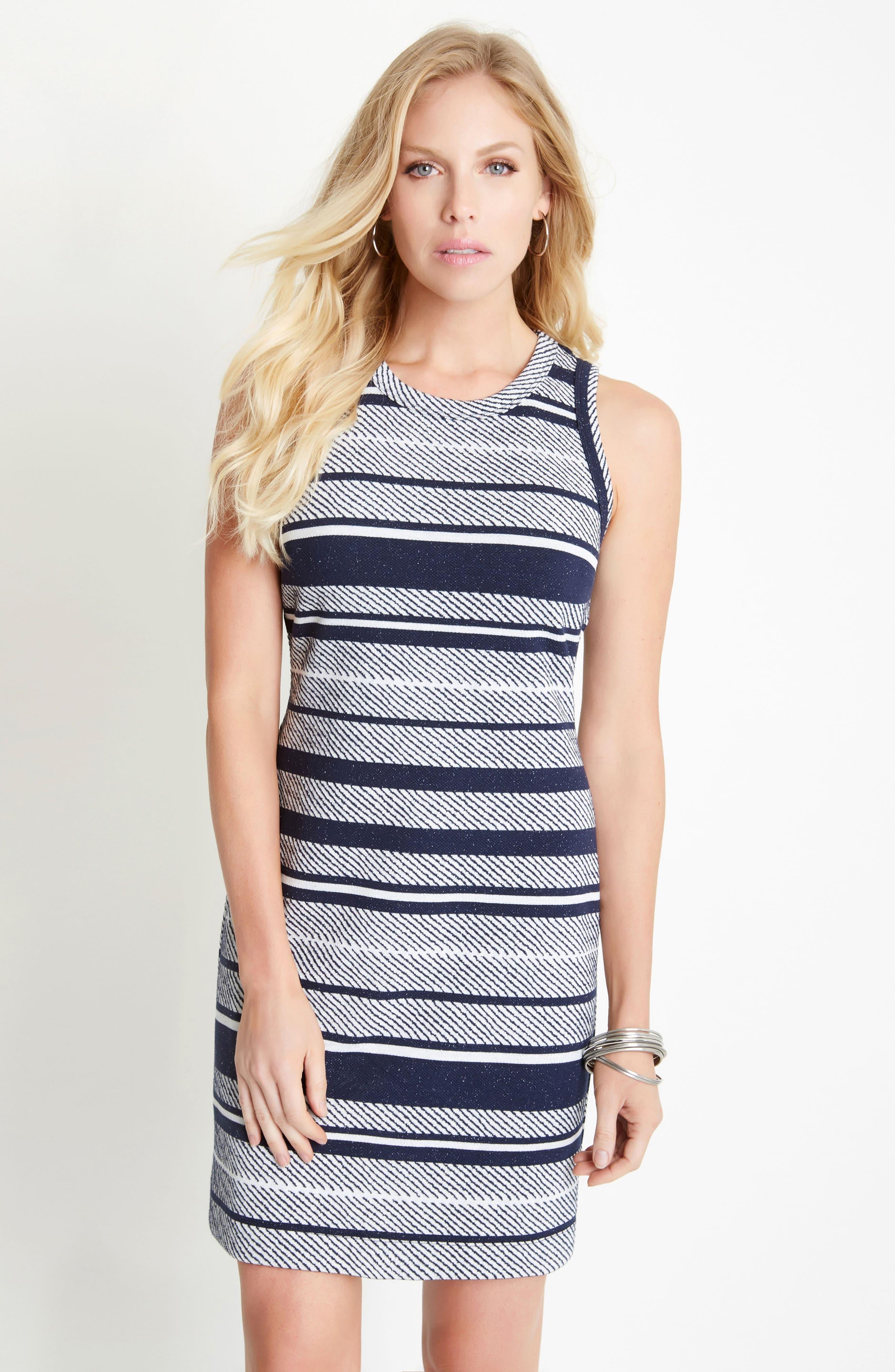Stripe Jacquard Sheath Dress,                             Alternate thumbnail 2, color,                             Stripe
