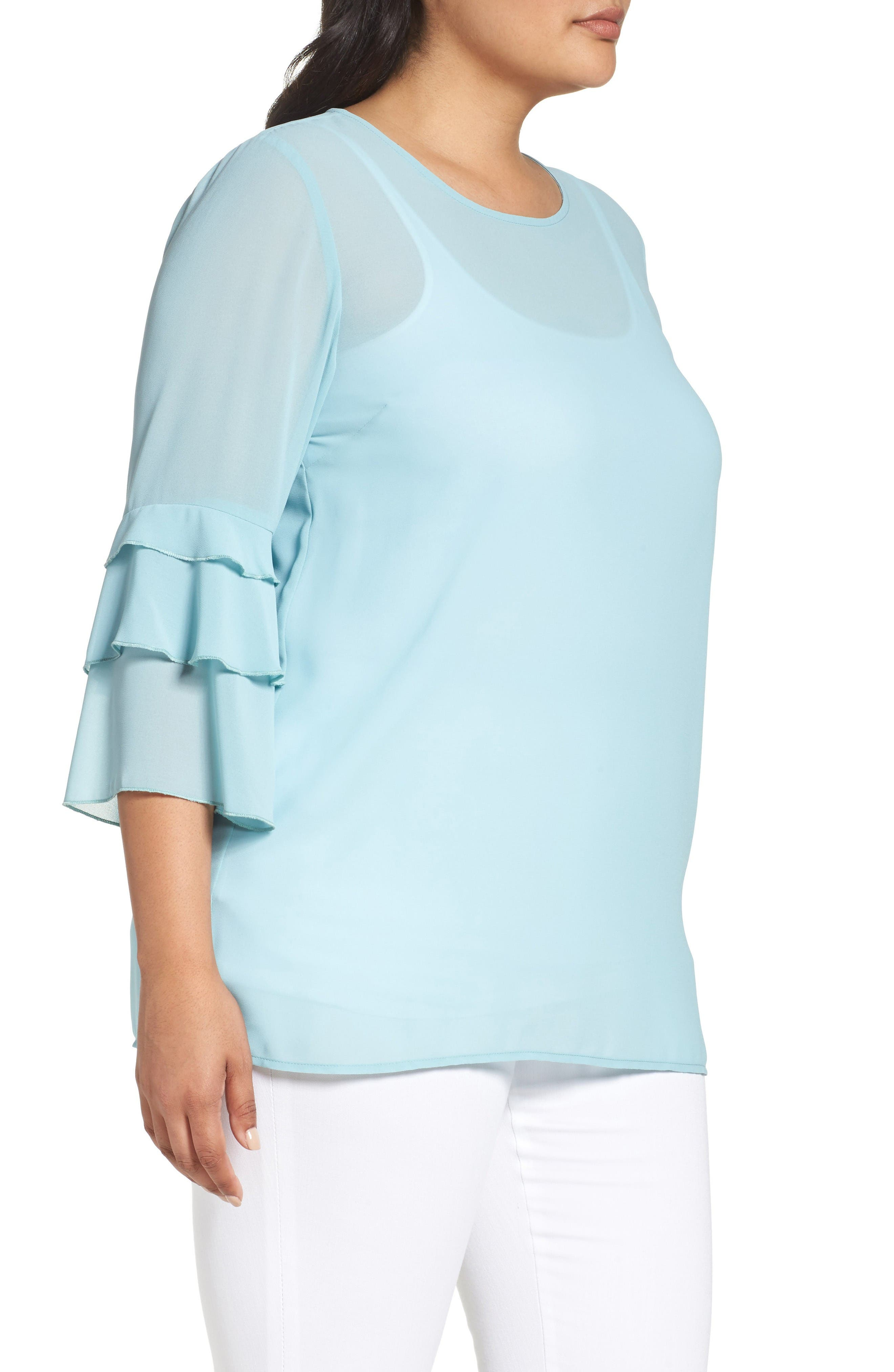 Ruffle Sleeve Blouse,                             Alternate thumbnail 3, color,                             Blue