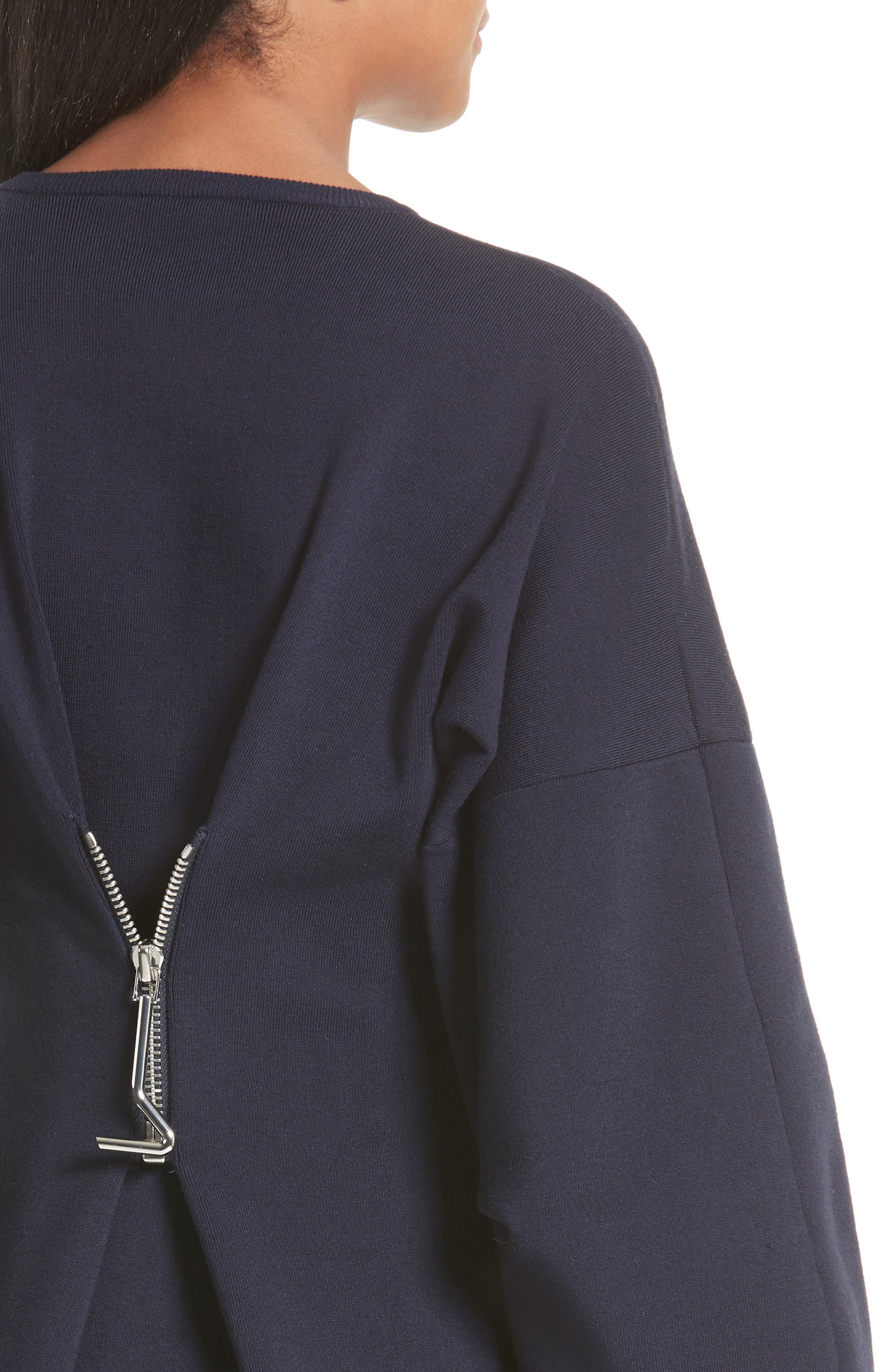Sculpted Zip Back Midi Dress,                             Alternate thumbnail 4, color,                             Navy