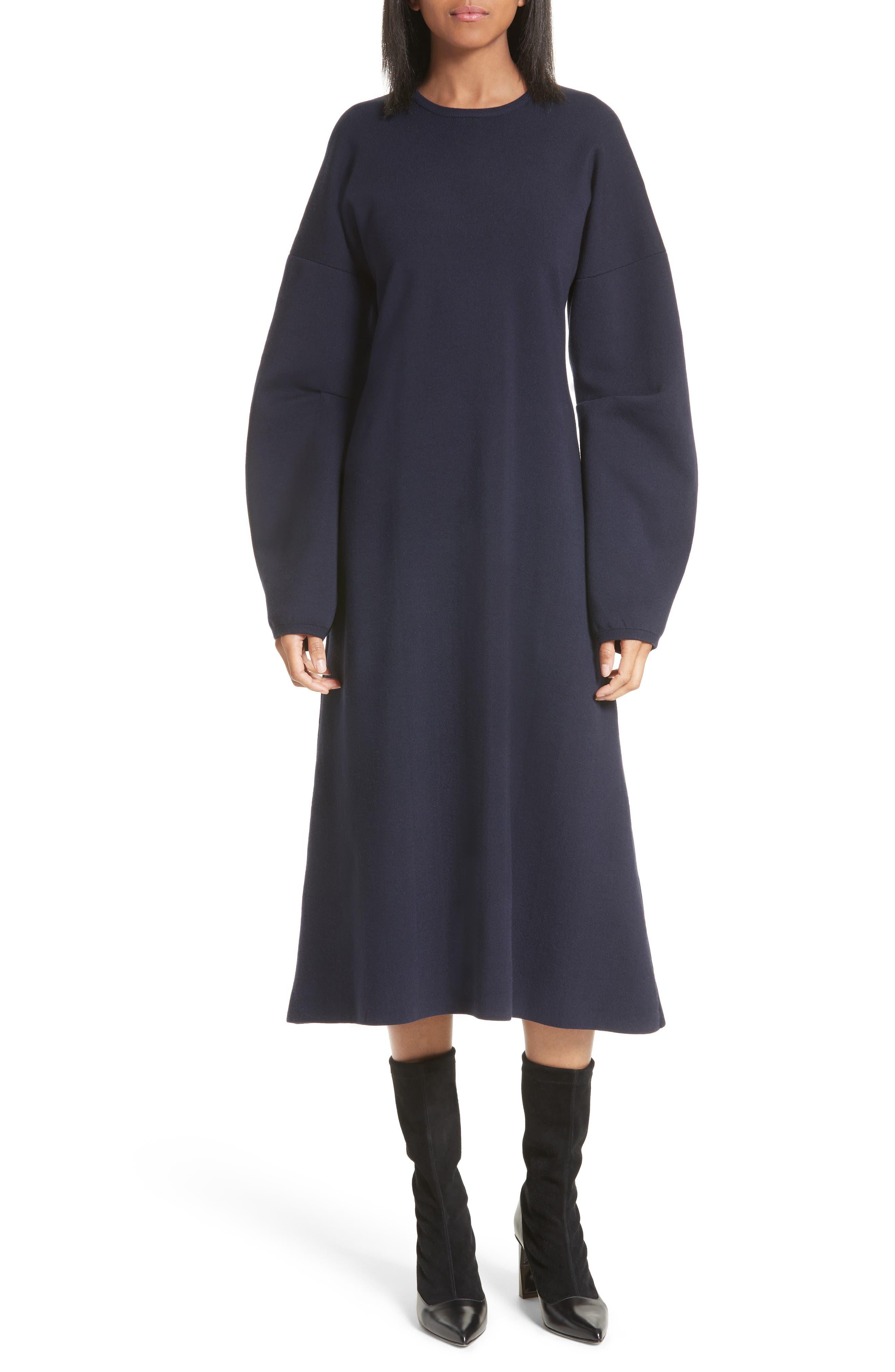 Sculpted Zip Back Midi Dress,                         Main,                         color, Navy