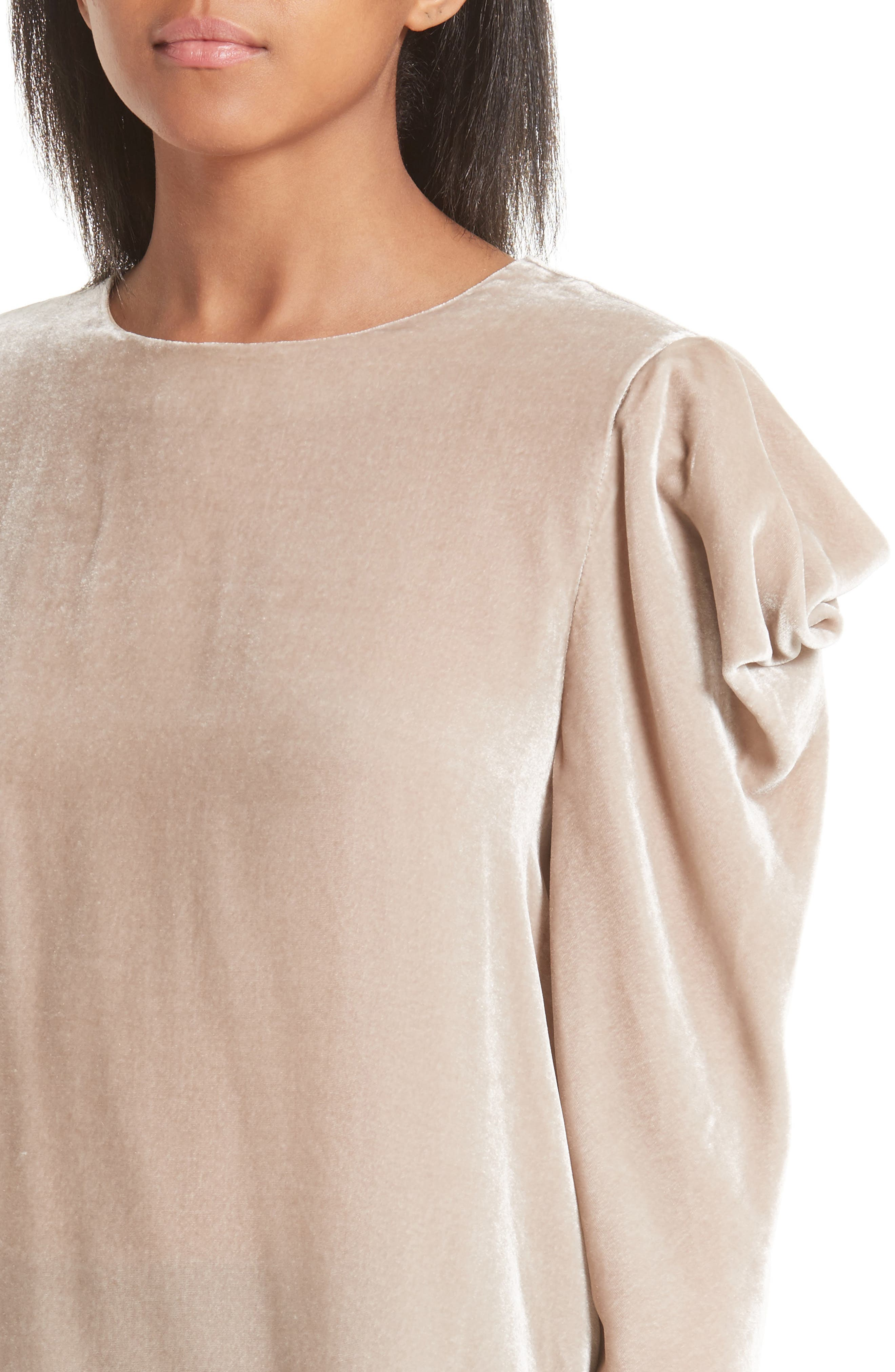 Drape Sleeve Velvet Top,                             Alternate thumbnail 4, color,                             Marble