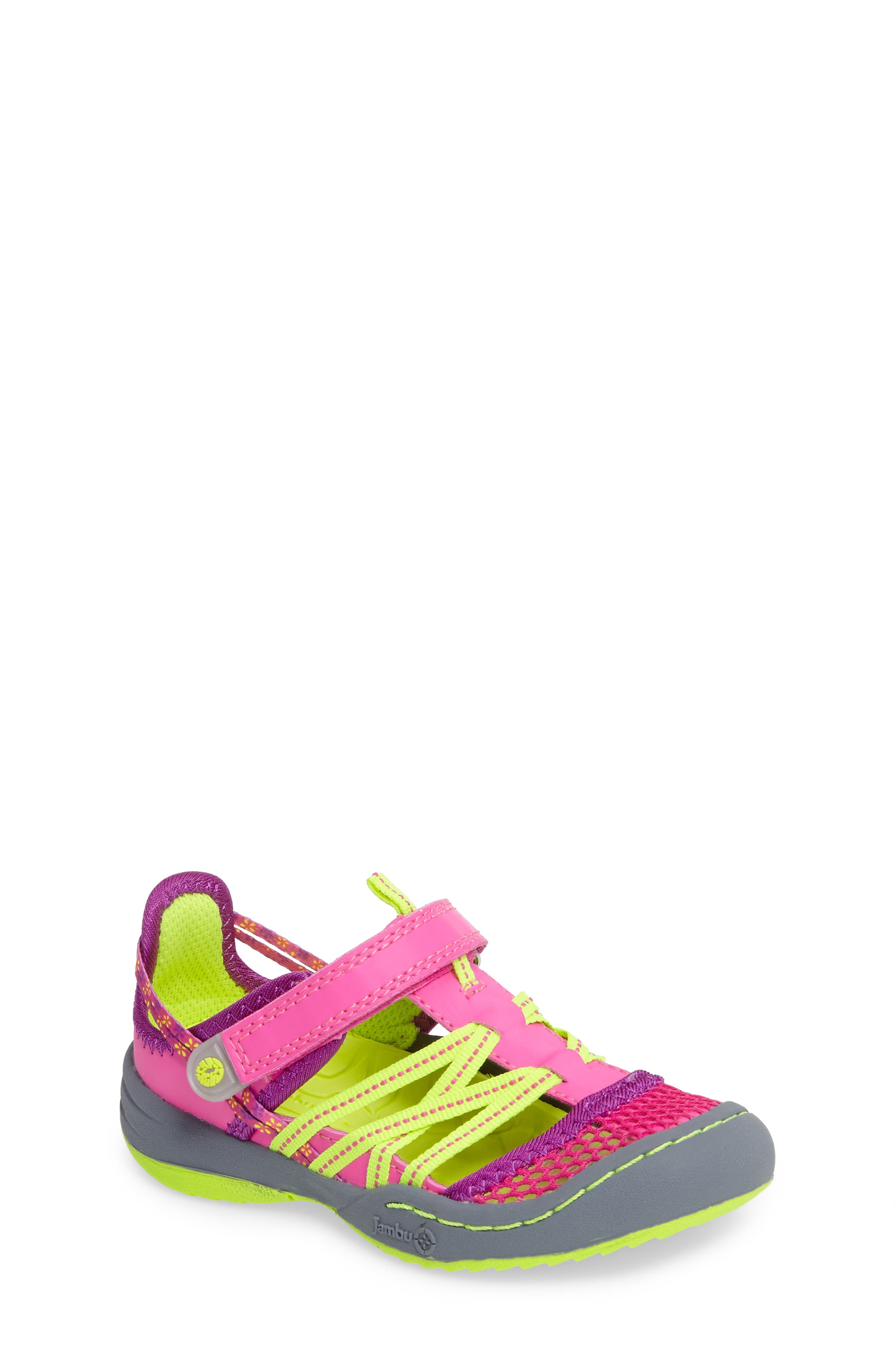 Everly Water Sport Fisherman Sandal,                         Main,                         color, Pink/ Neon