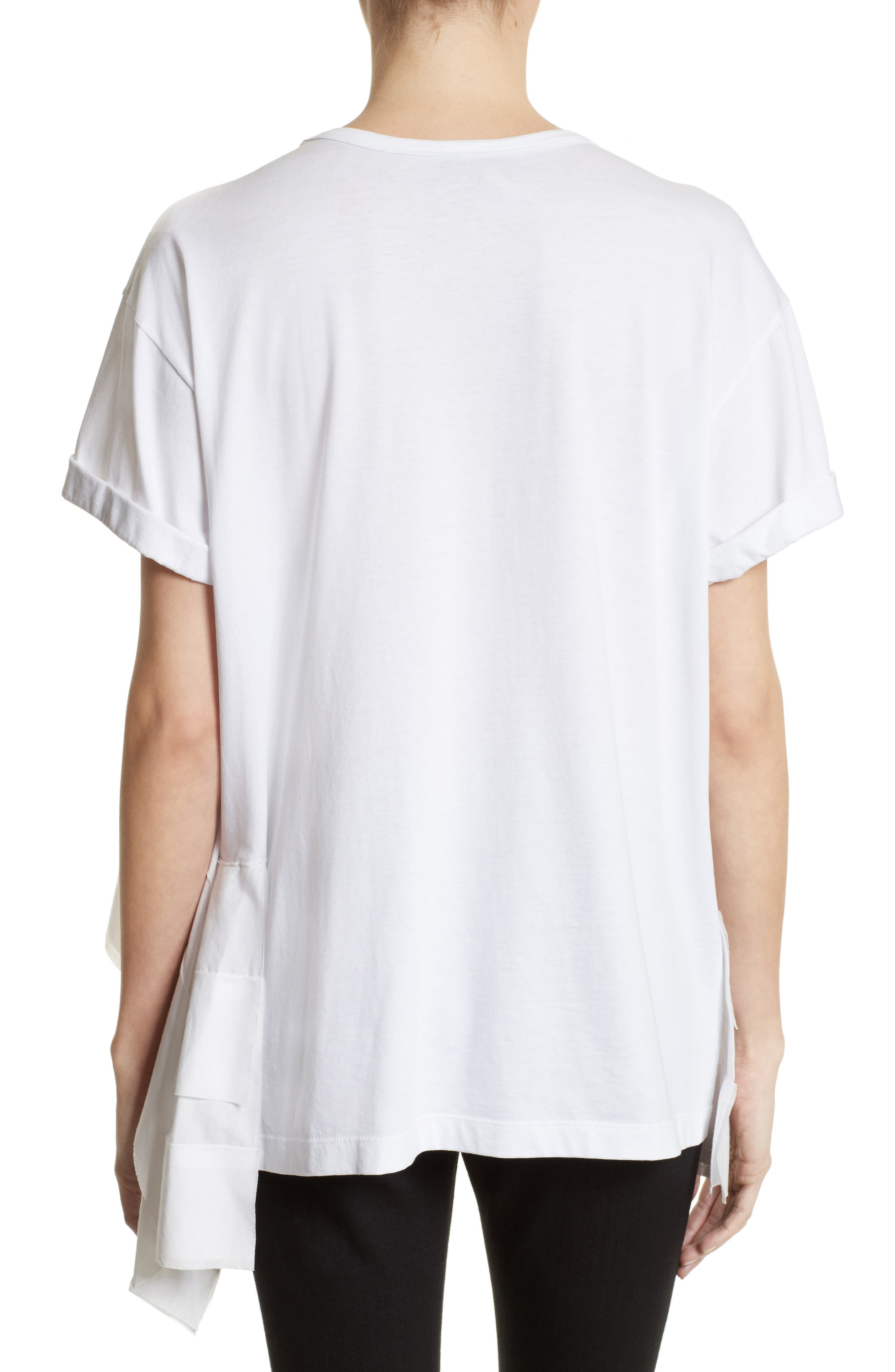 Asymmetrical Ruffle Tee,                             Alternate thumbnail 2, color,                             White