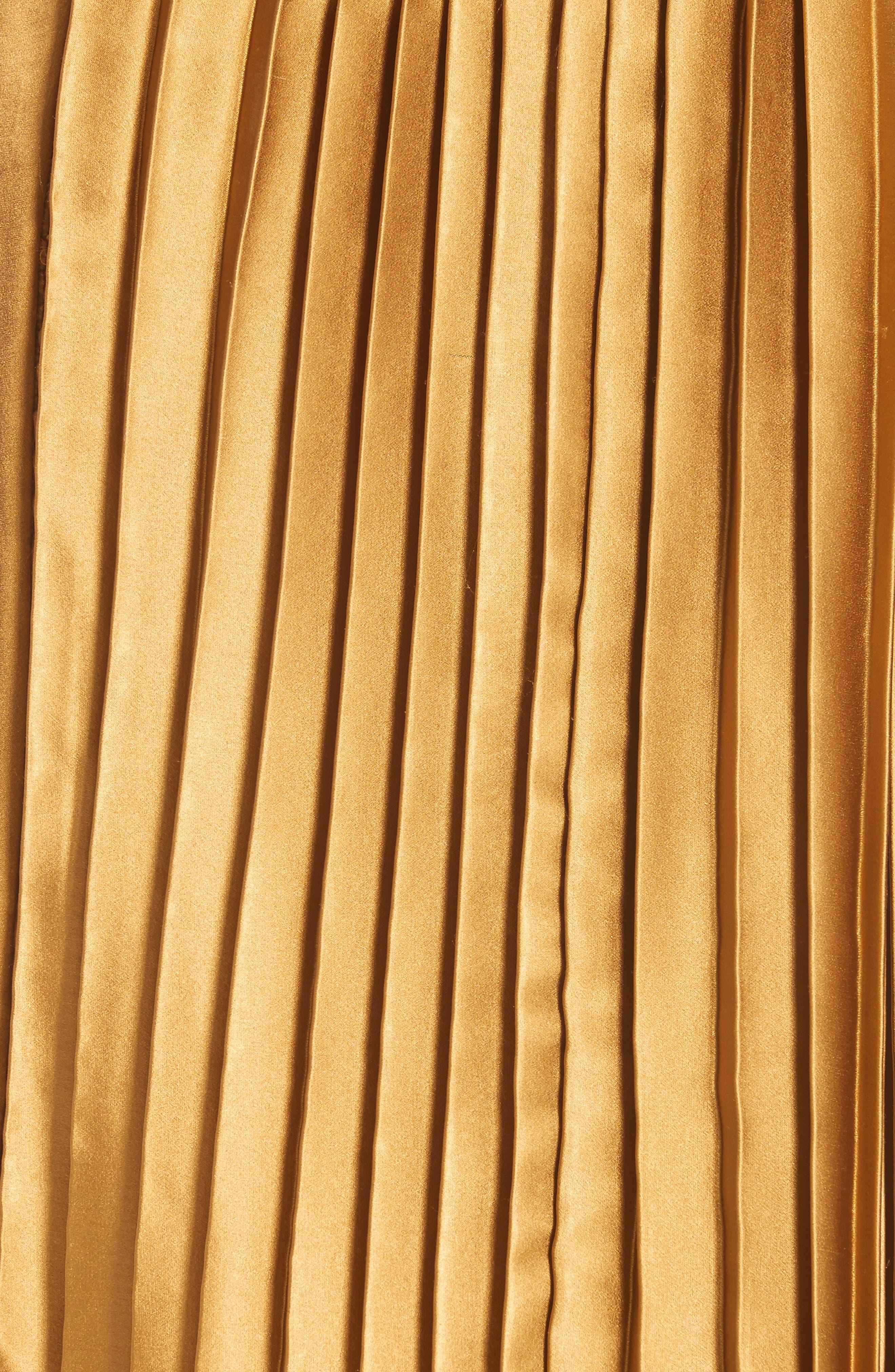 Gamil Pleated Silk Skirt,                             Alternate thumbnail 6, color,                             Bone Brown