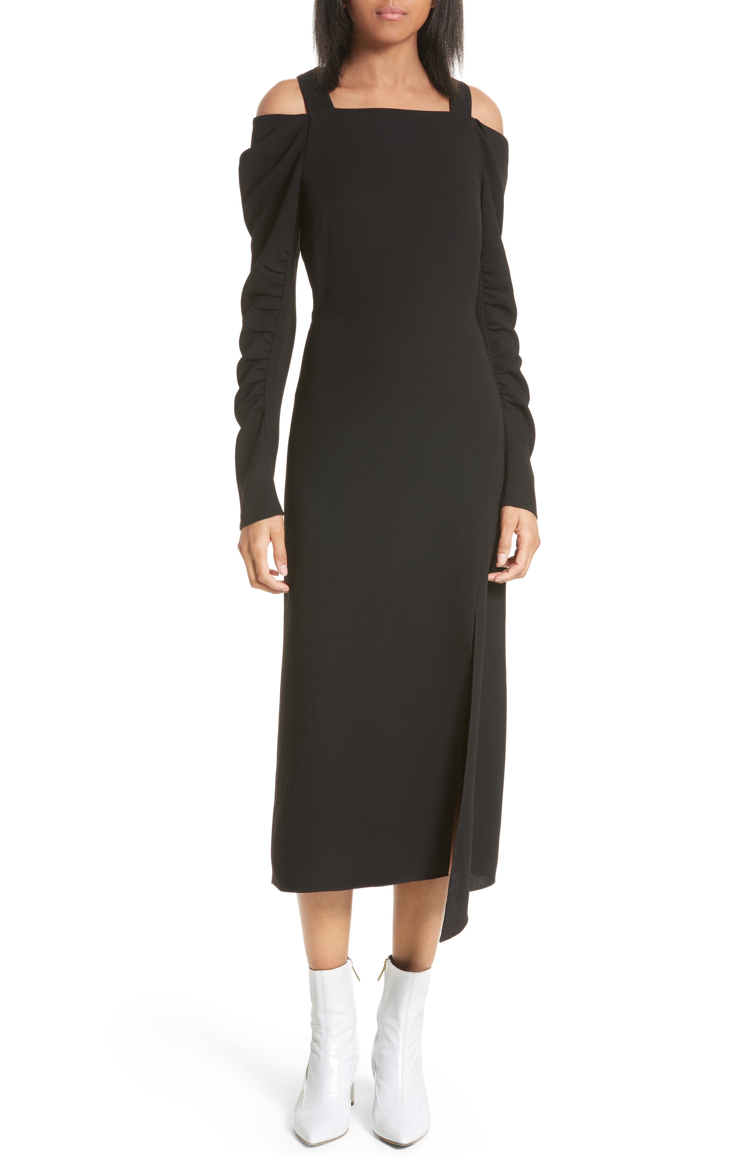 Cold Shoulder Midi Dress,                             Main thumbnail 1, color,                             Black