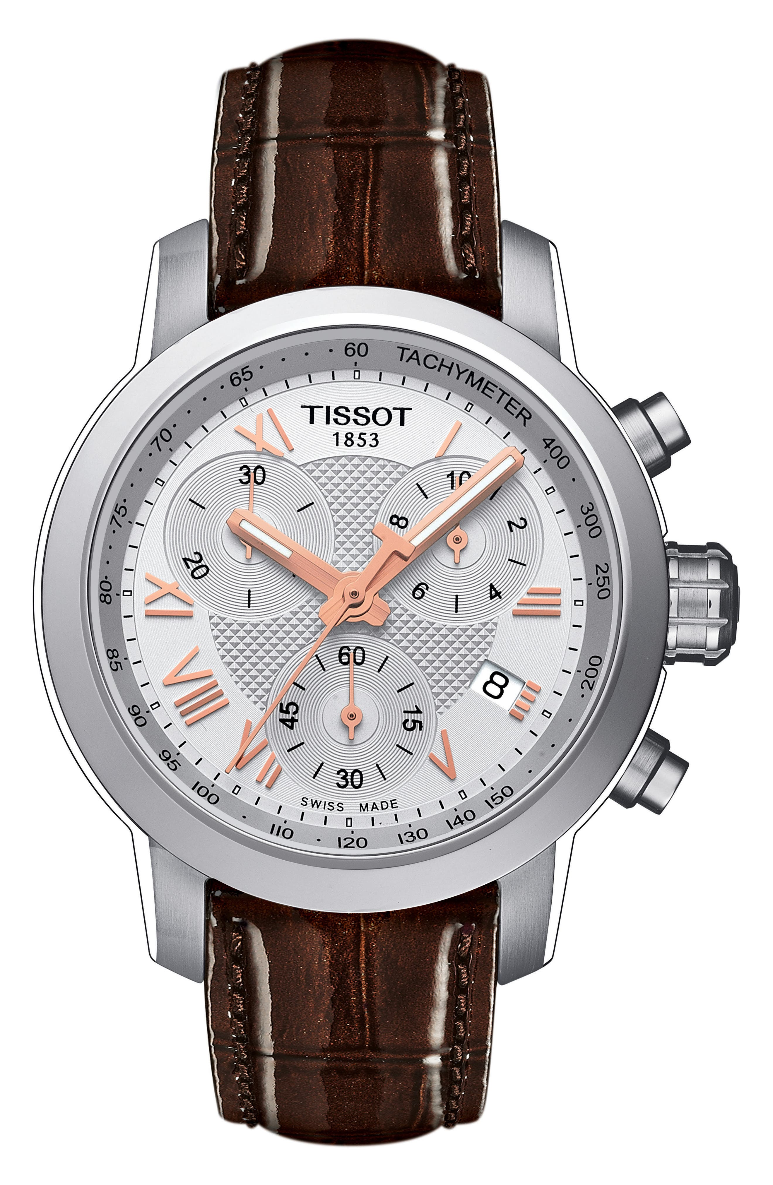 PRC200 Chronograph Lady Leather Strap Watch, 34mm,                             Main thumbnail 1, color,                             Brown/ Silver