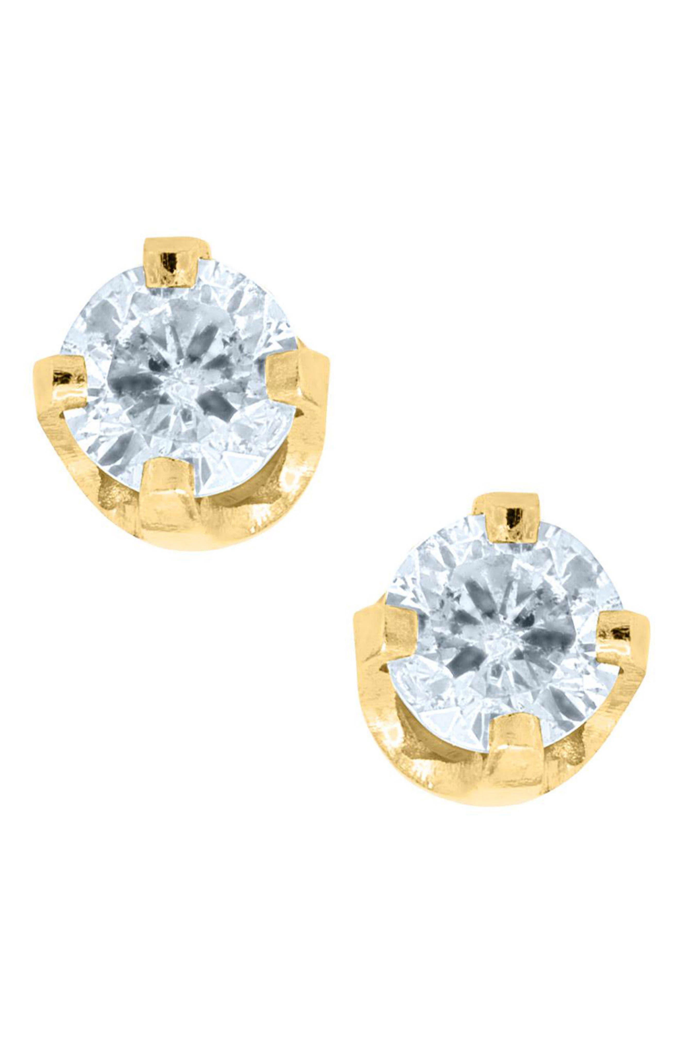 14k Gold & Diamond Earrings,                         Main,                         color, Gold