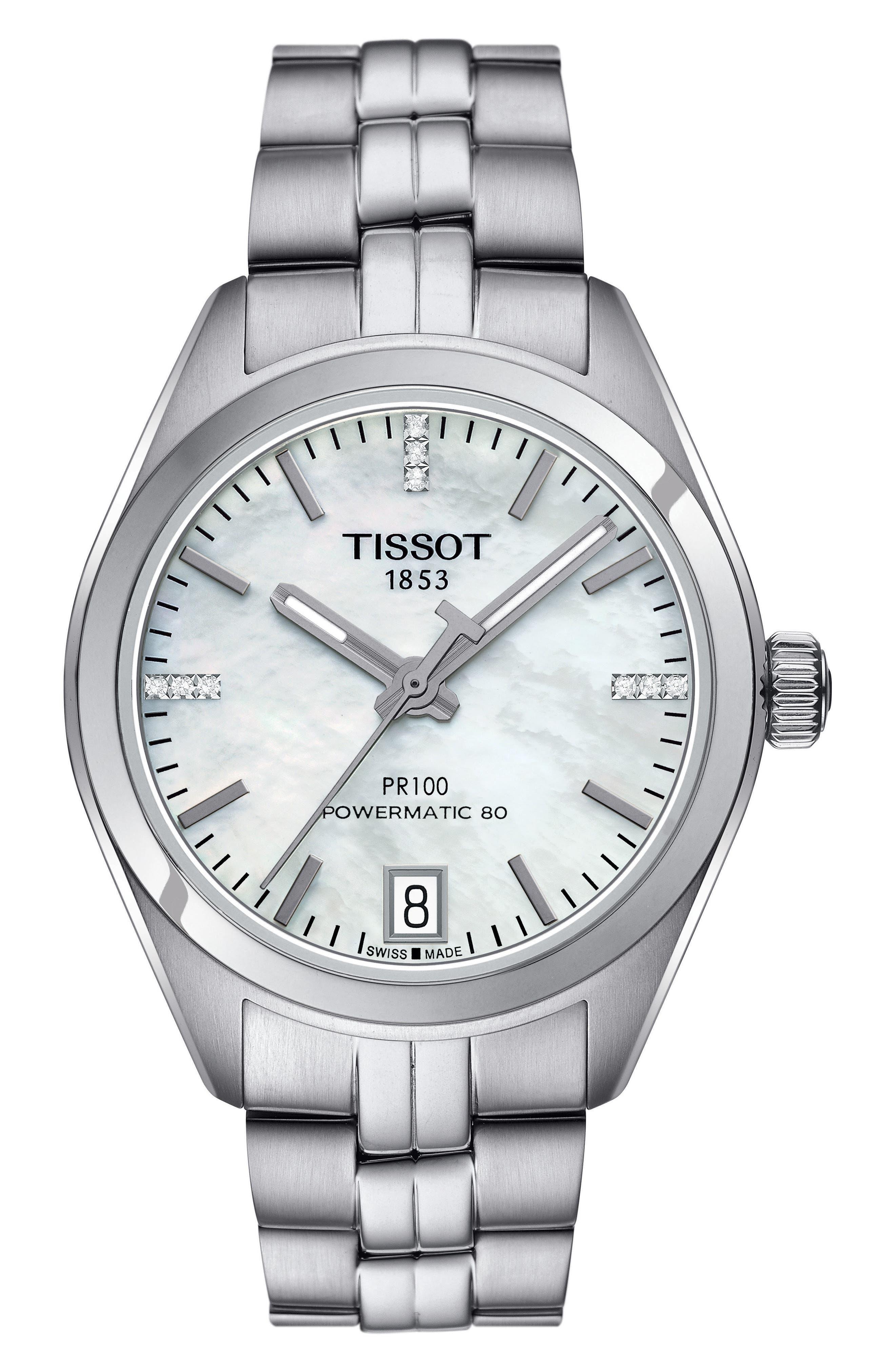 Alternate Image 1 Selected - Tissot PR100 Diamond Automatic Bracelet Watch, 33mm