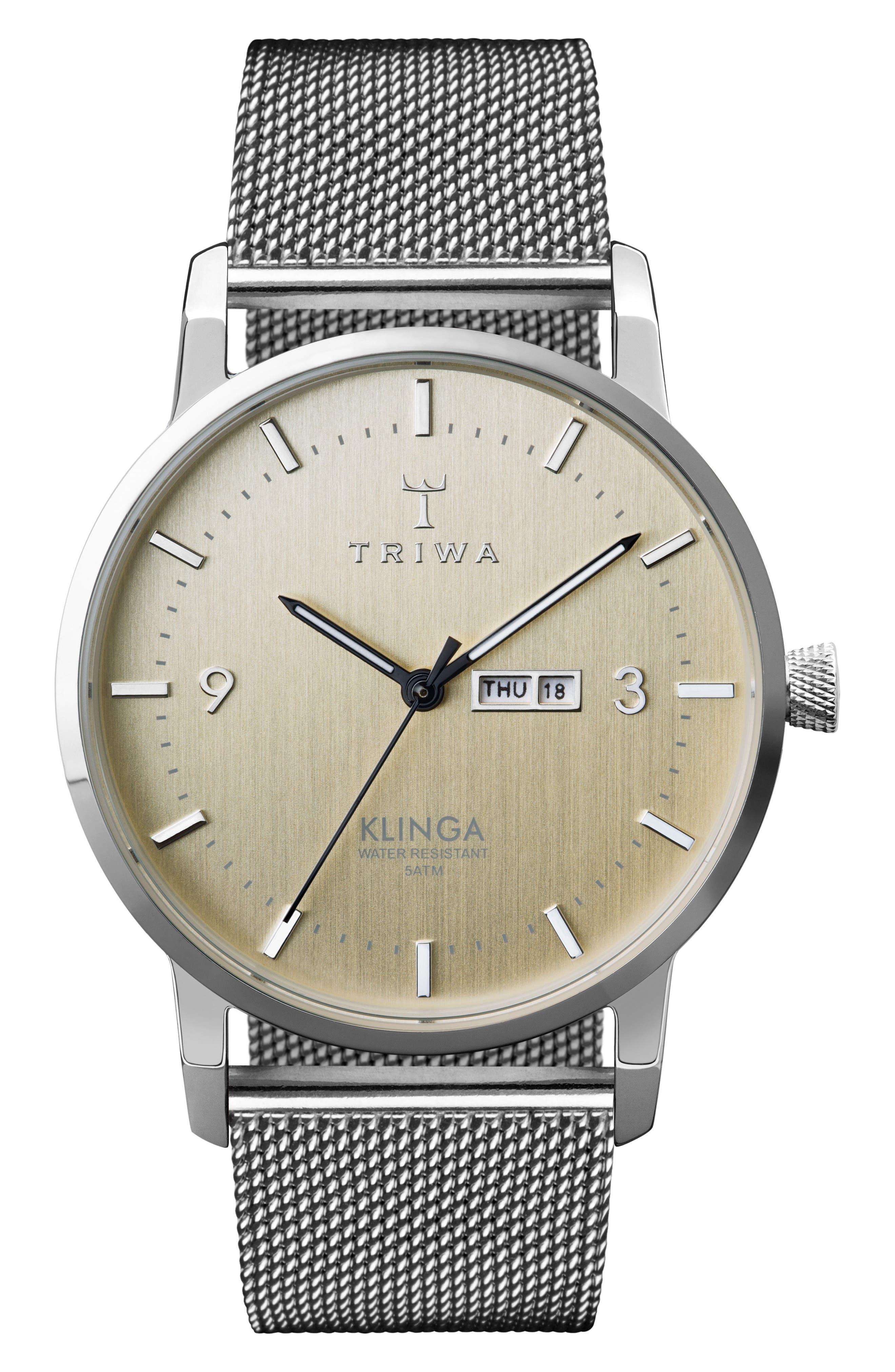 Birch Klinga Mesh Strap Watch, 38mm,                         Main,                         color, Silver/ Gold/ Silver