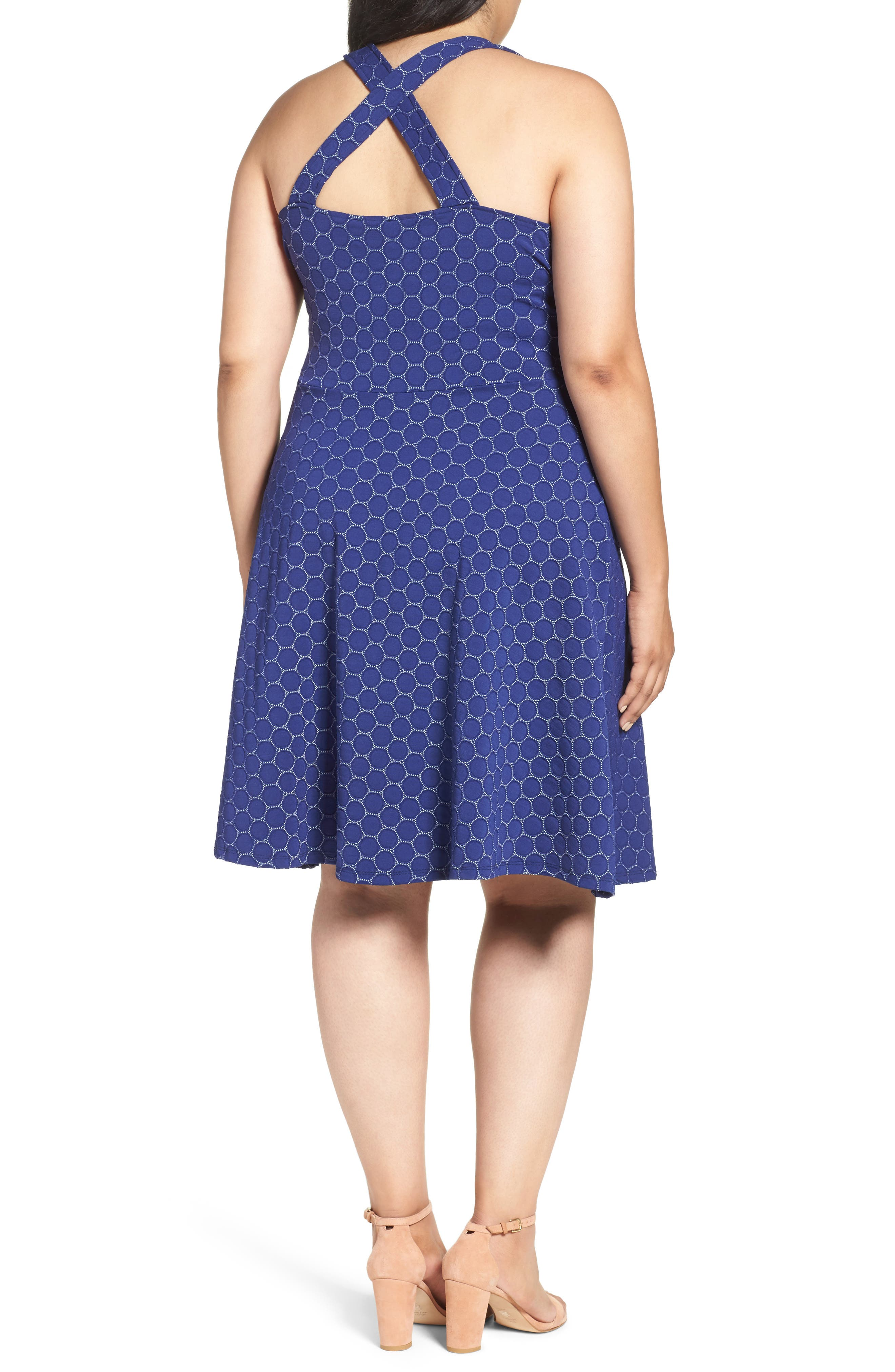 Fit & Flare Dress,                             Alternate thumbnail 2, color,                             Navy Cameo