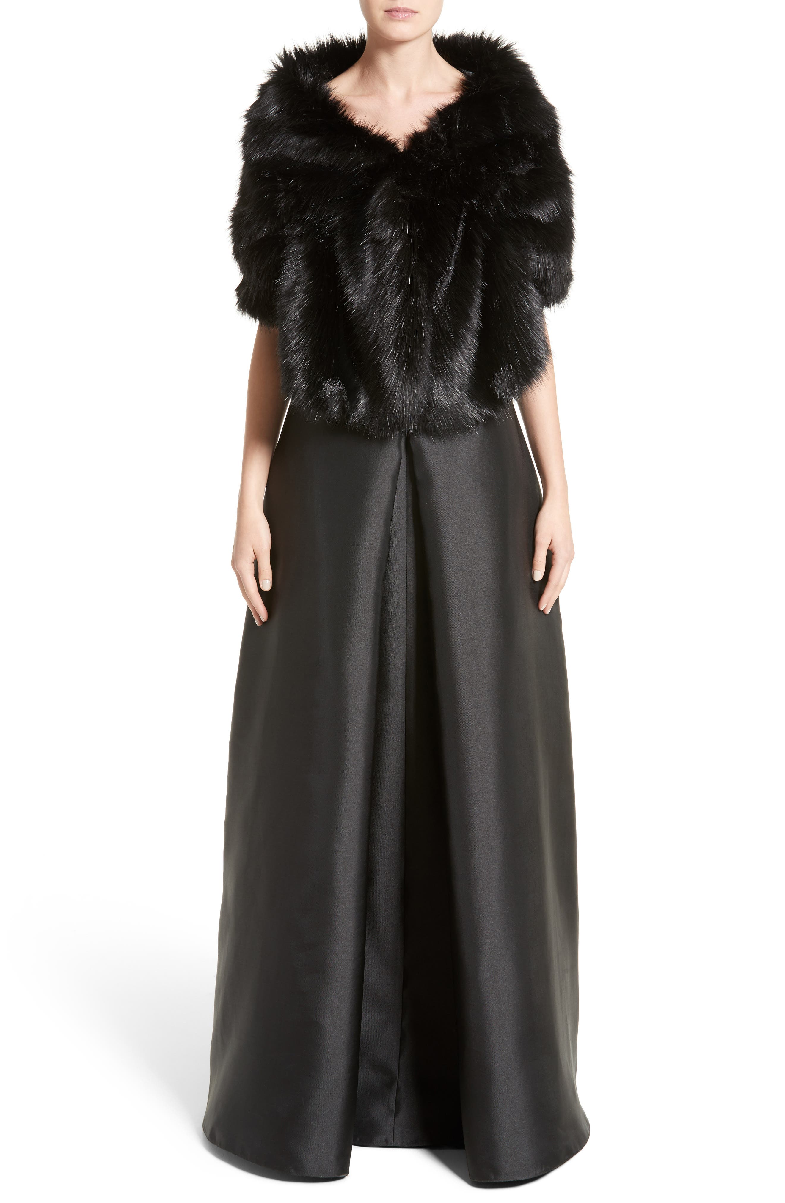 Armani Collezioni Faux Fur Wrap Shawl