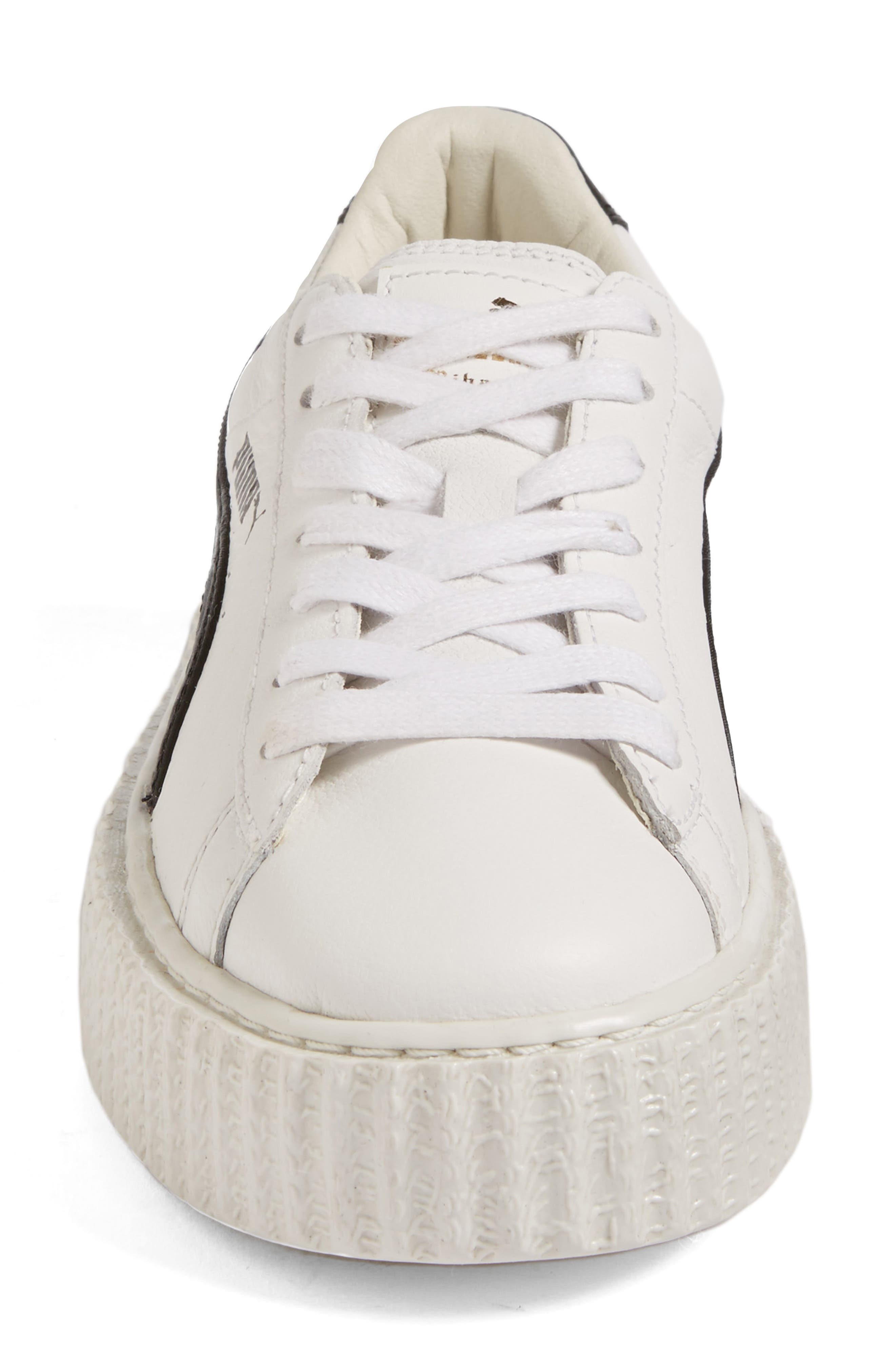 FENTY PUMA by Rihanna Creeper Sneaker,                             Alternate thumbnail 4, color,                             White Leather