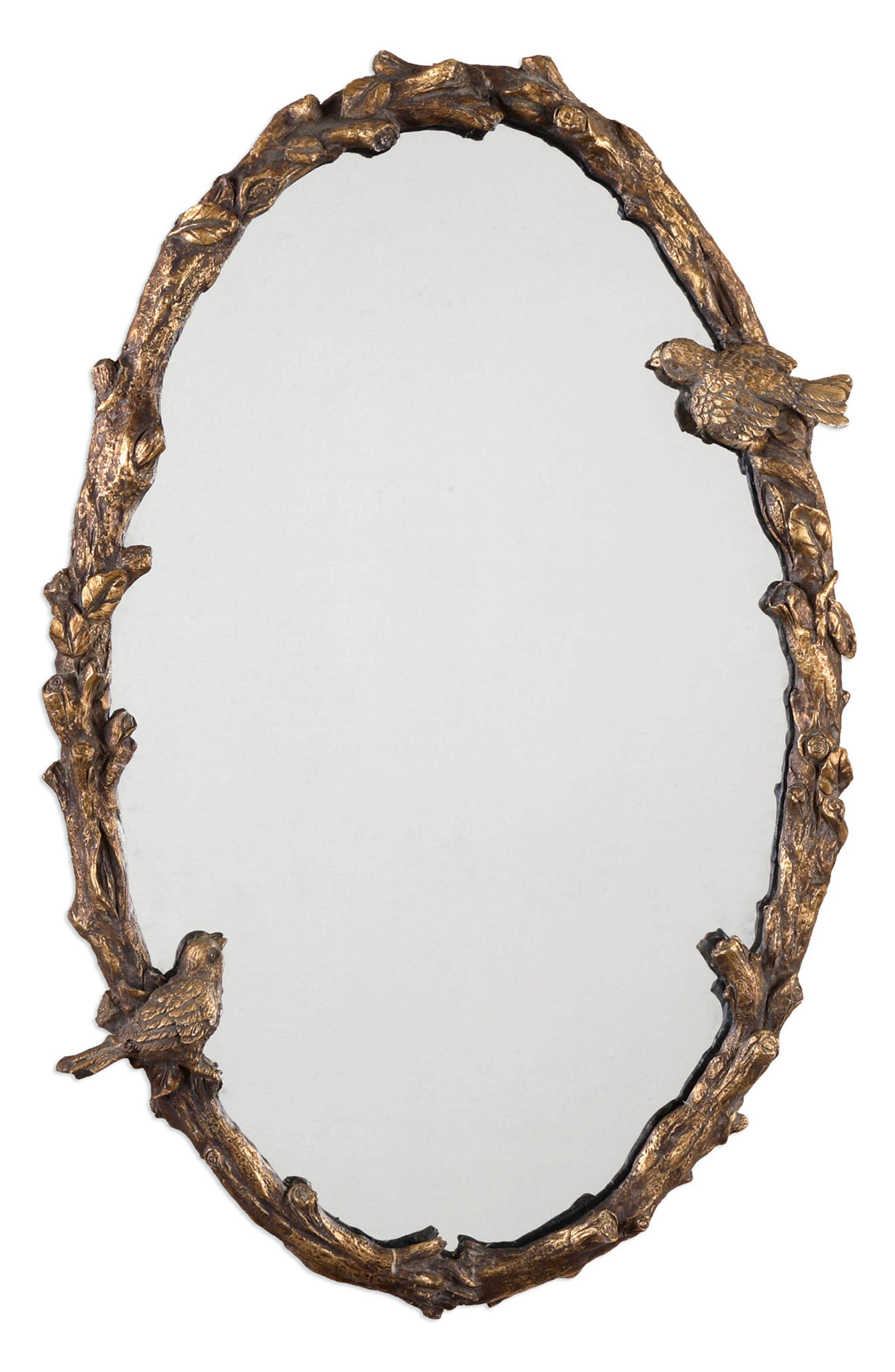 Paza Vine Oval Wall Mirror,                         Main,                         color, Metallic Gold