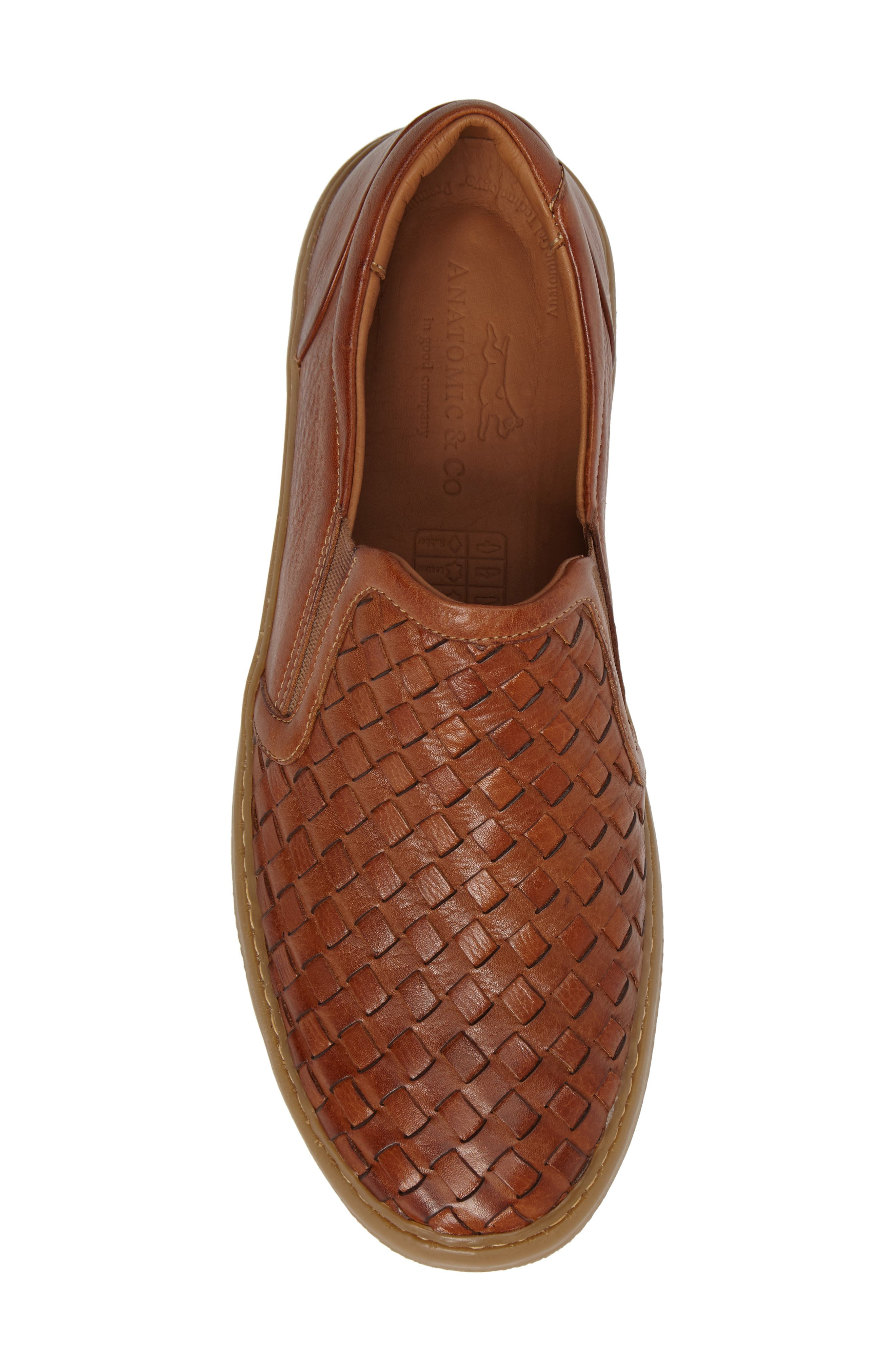 Bastos Woven Slip-On,                             Alternate thumbnail 5, color,                             Cognac Leather