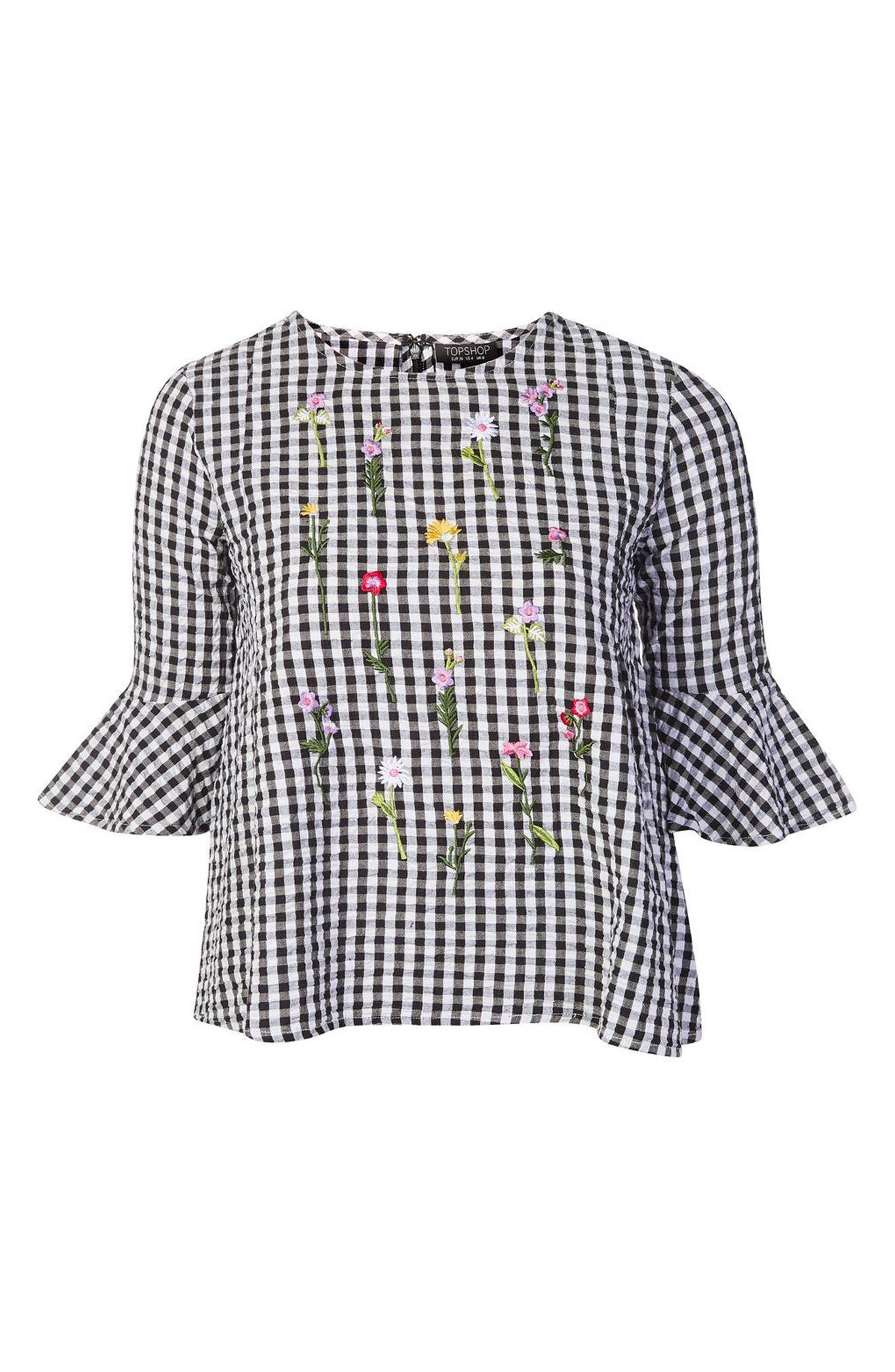 Alternate Image 3  - Topshop Embroidered Gingham Top