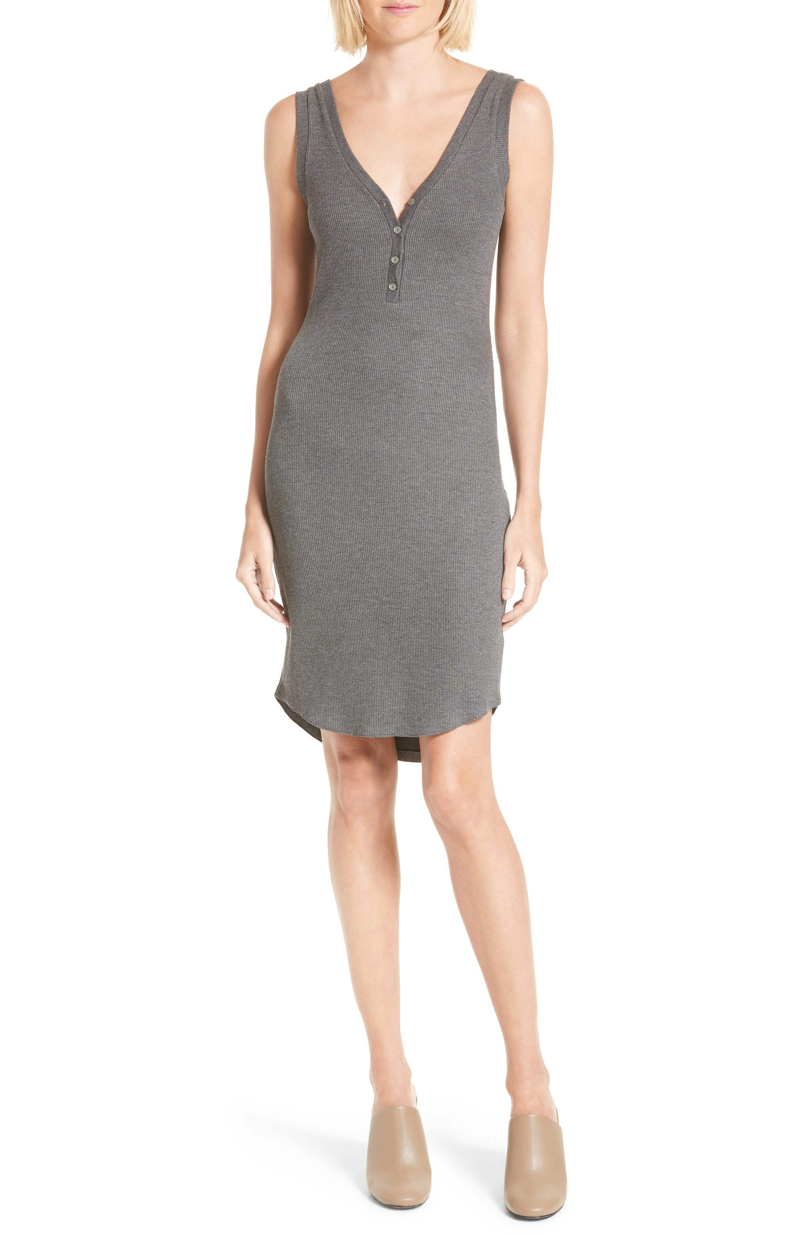 Everly Henley Tank Dress,                         Main,                         color, Heather Grey